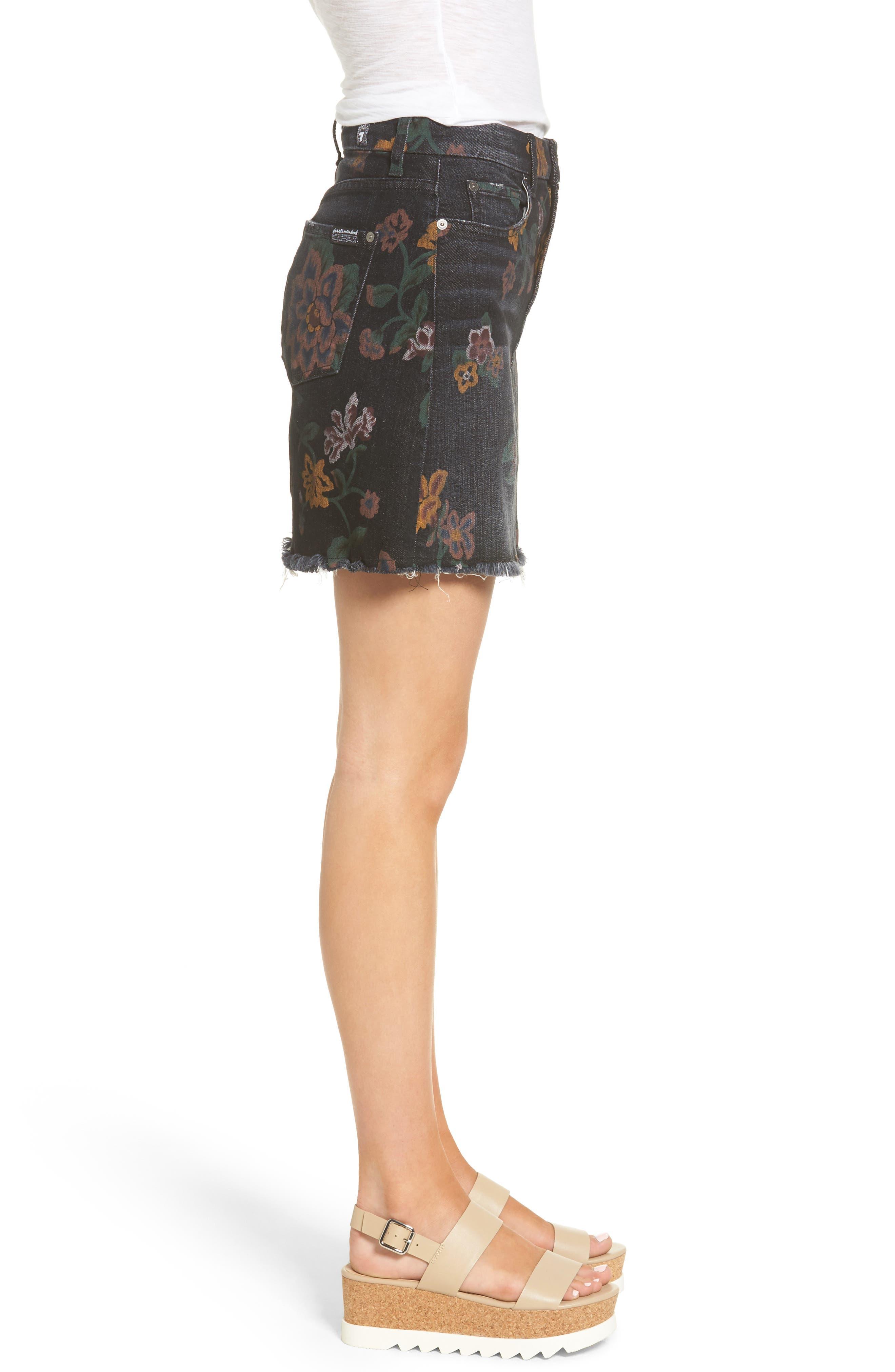 Print Denim Miniskirt,                             Alternate thumbnail 3, color,                             004