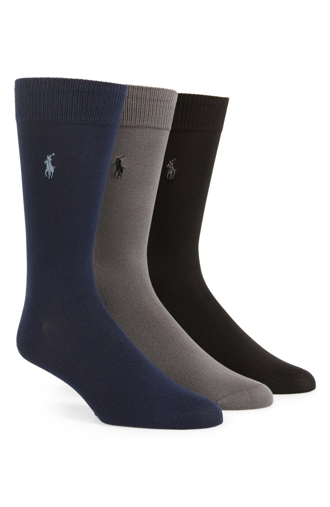 Assorted 3-Pack Supersoft Socks,                             Main thumbnail 1, color,                             NAVY MULTI