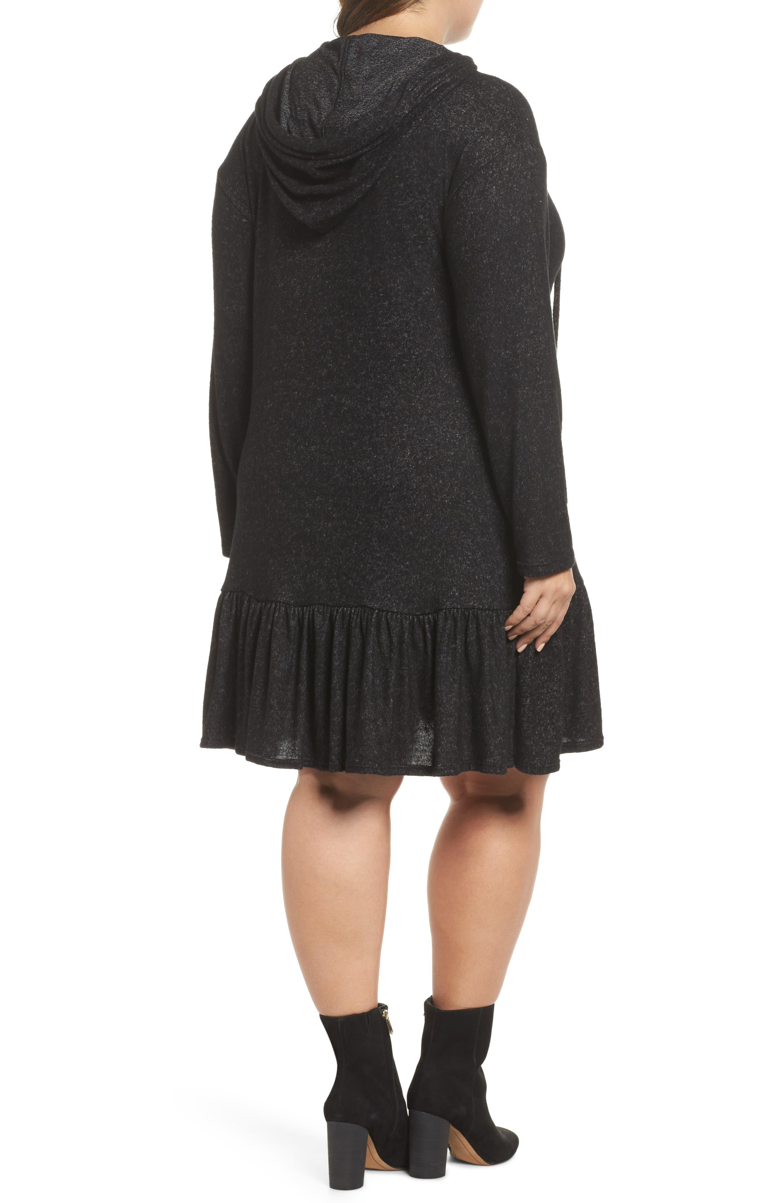 Peplum Hem Hoodie Dress,                             Alternate thumbnail 2, color,                             001