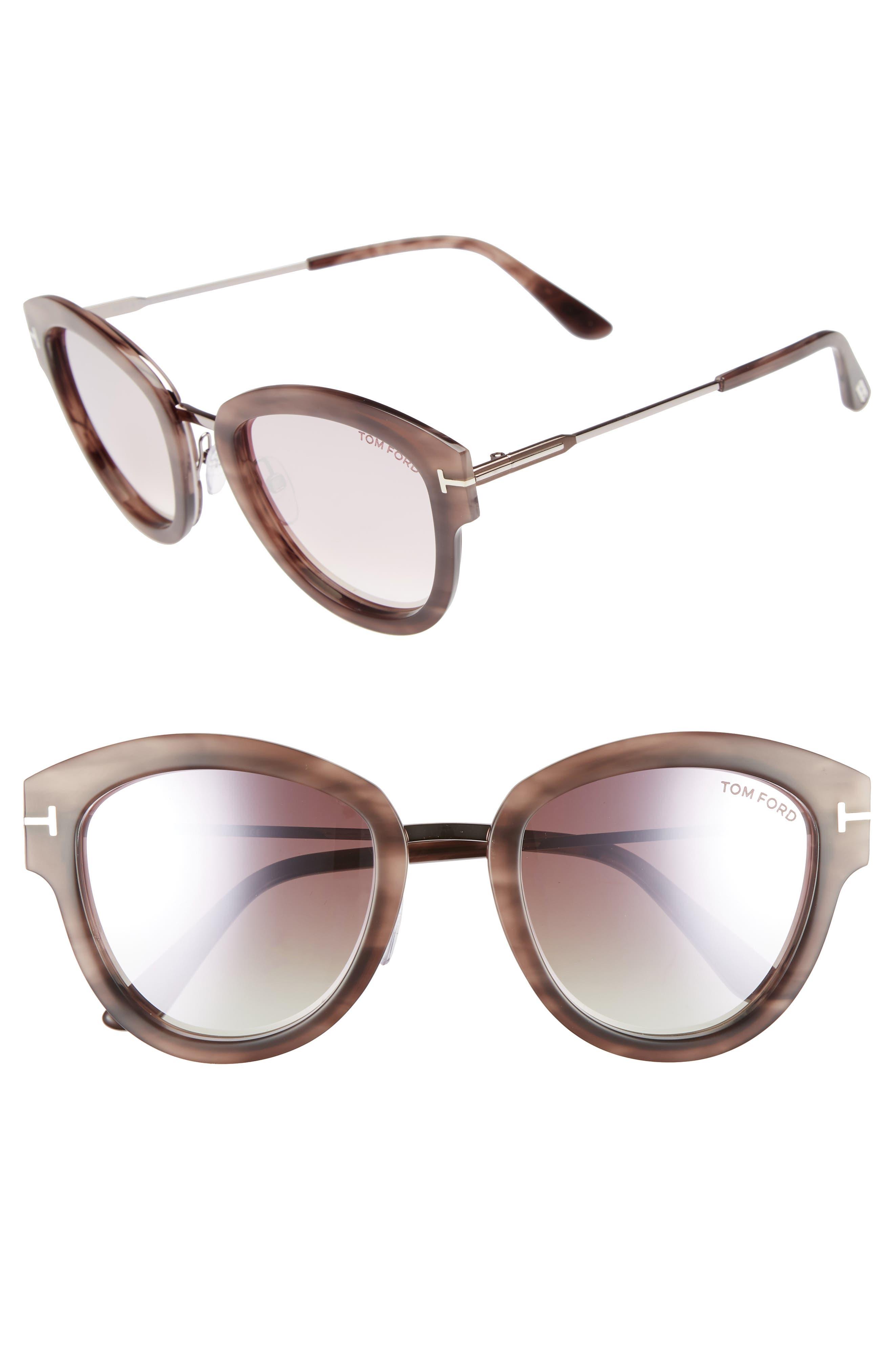 Mia 55Mm Cat Eye Sunglasses - Pink Melange Havana Acetate