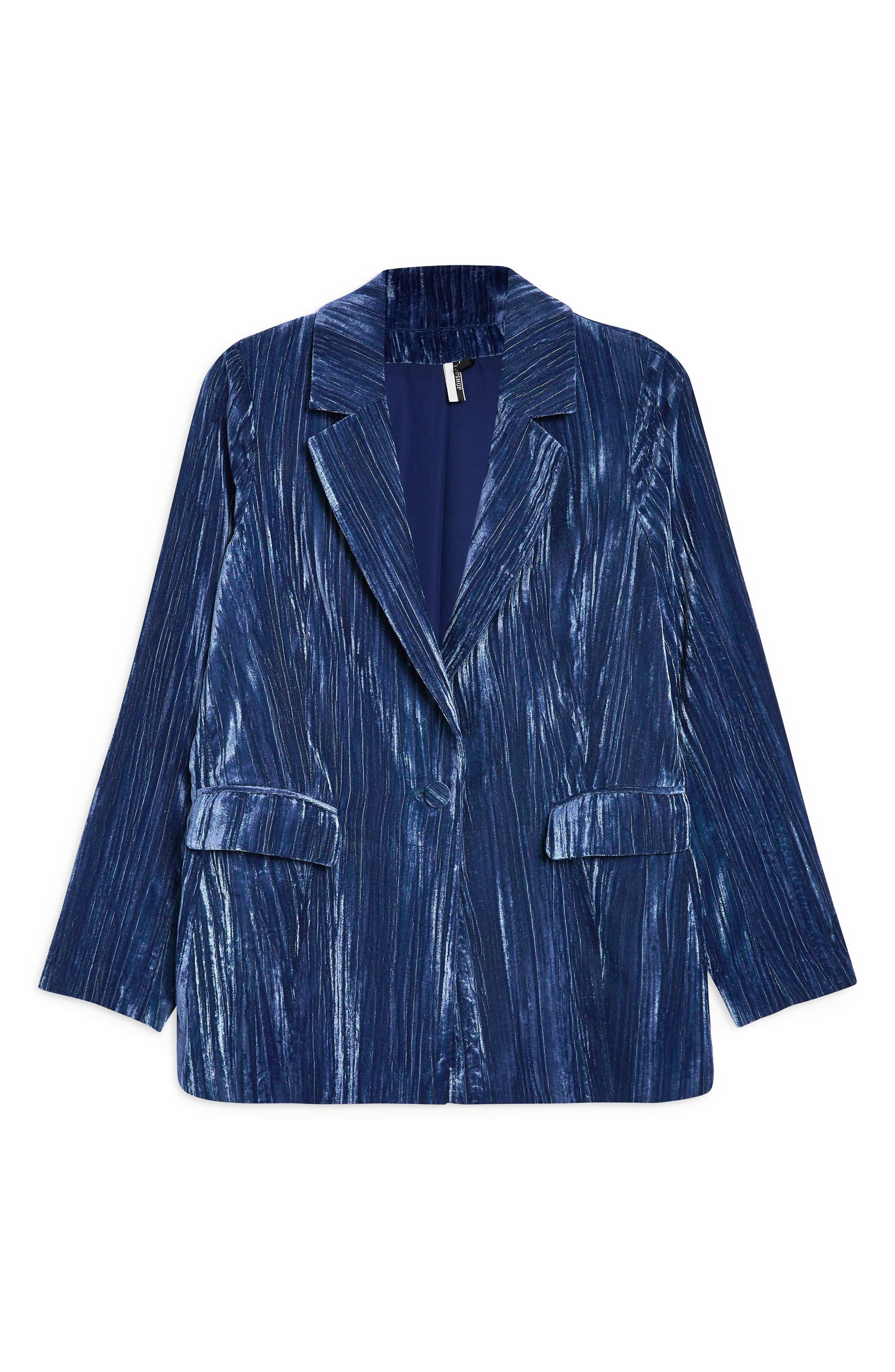 Crinkle Velvet Jacket,                             Alternate thumbnail 4, color,                             BLUE