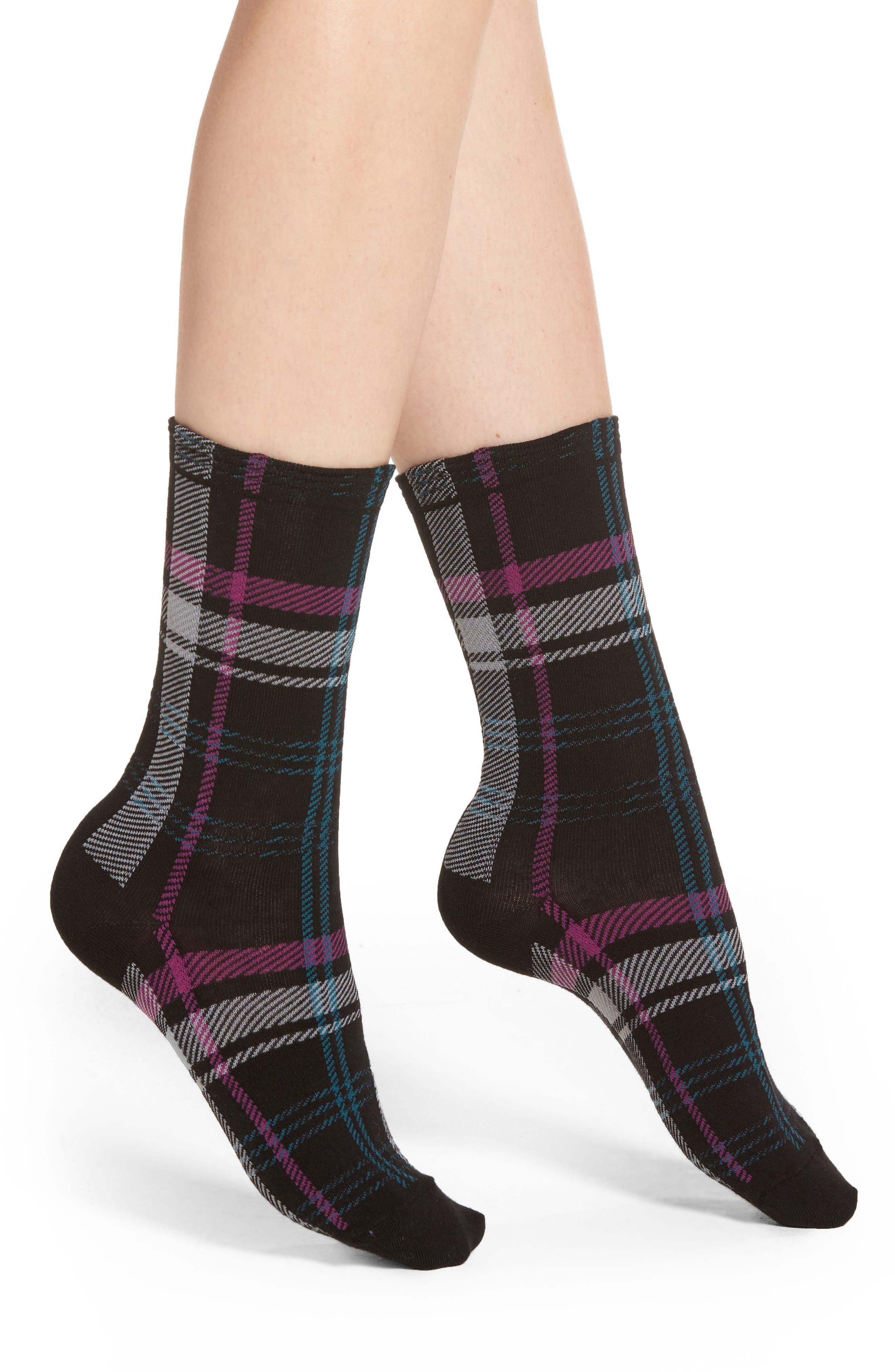 Plaid Flat Knit Socks,                             Main thumbnail 1, color,                             001