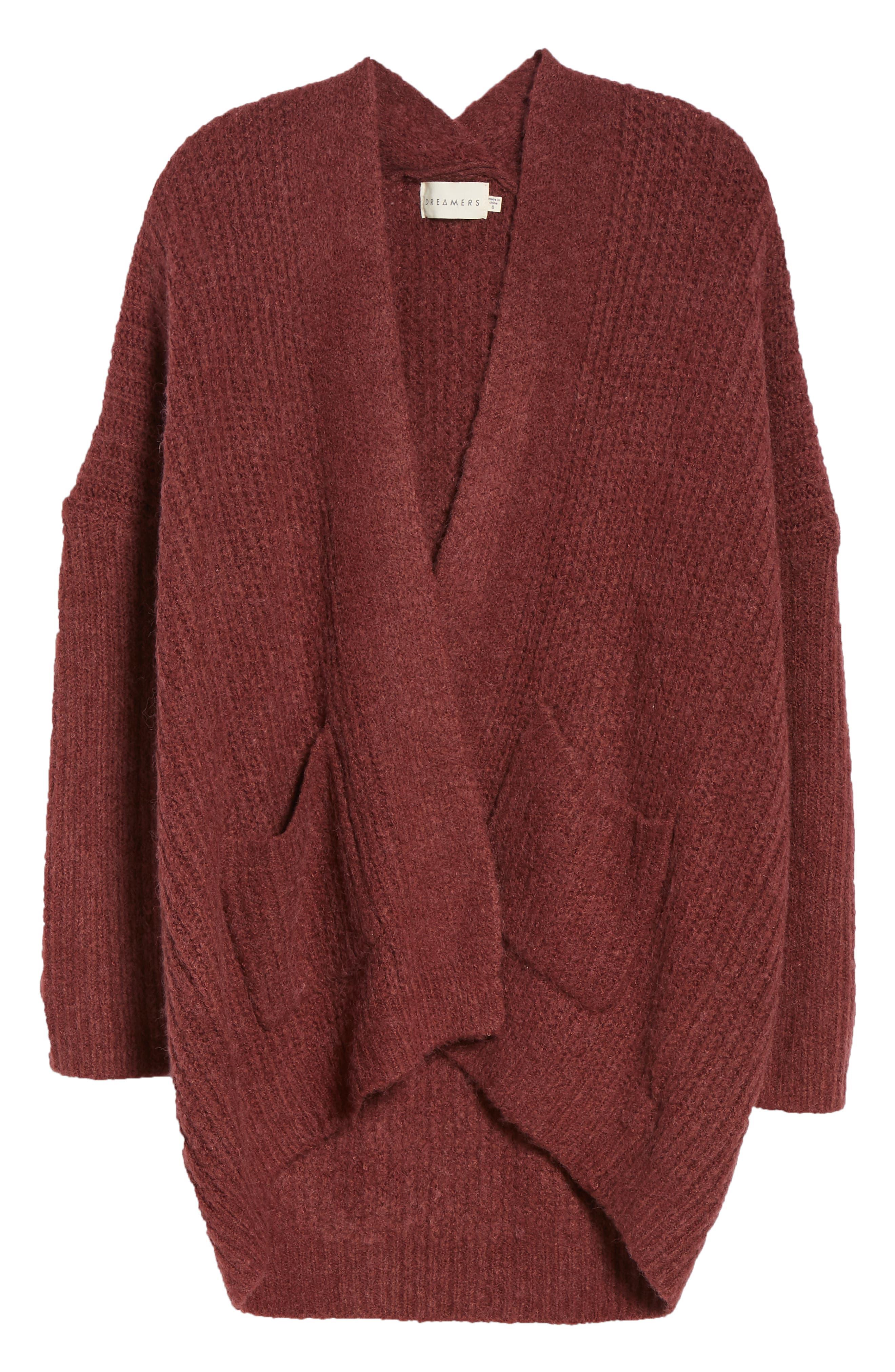 Rib Knit Open Cardigan,                             Alternate thumbnail 6, color,                             DUST PLUM
