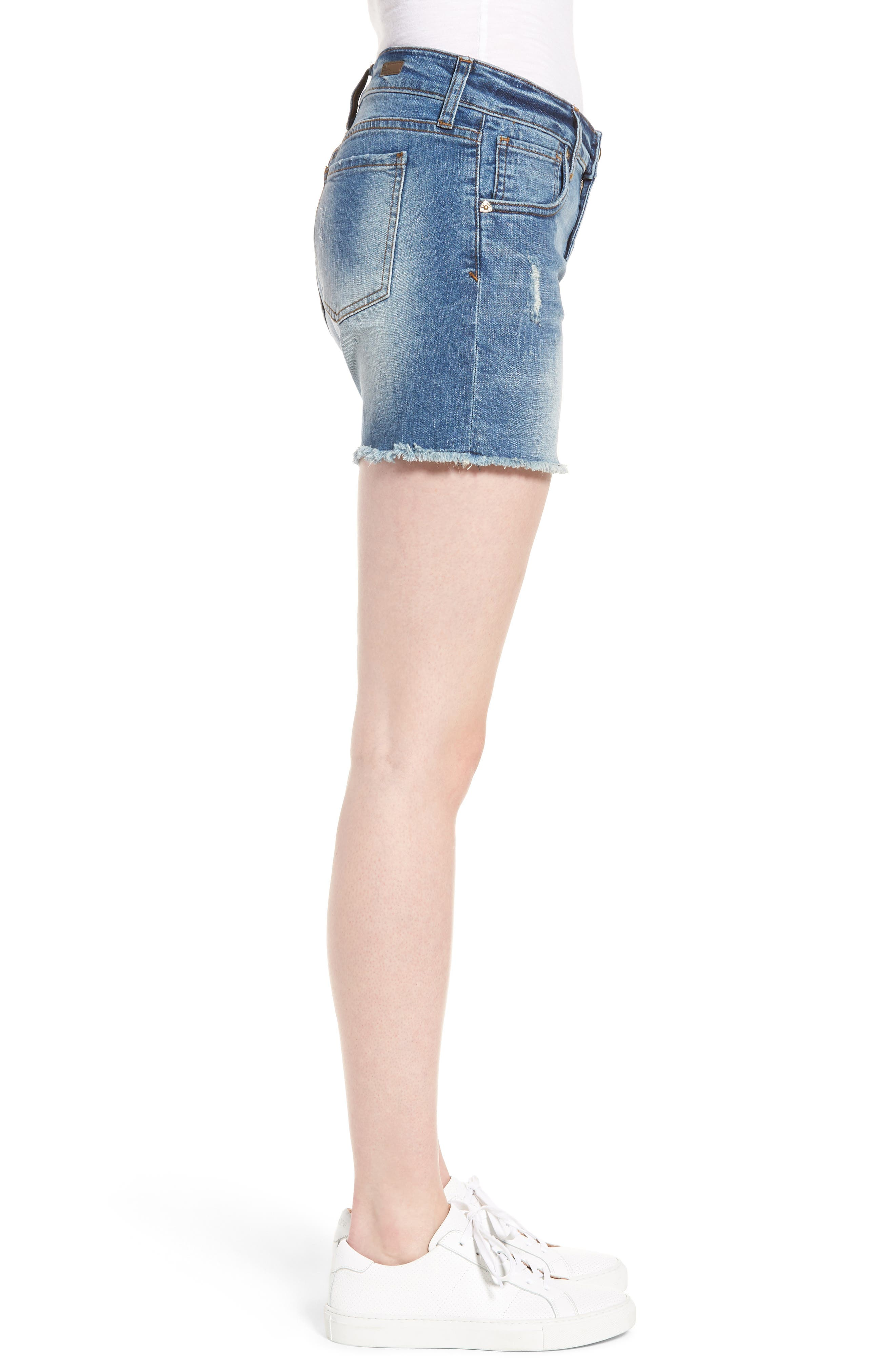 Gidget Distressed Denim Shorts,                             Alternate thumbnail 3, color,                             475