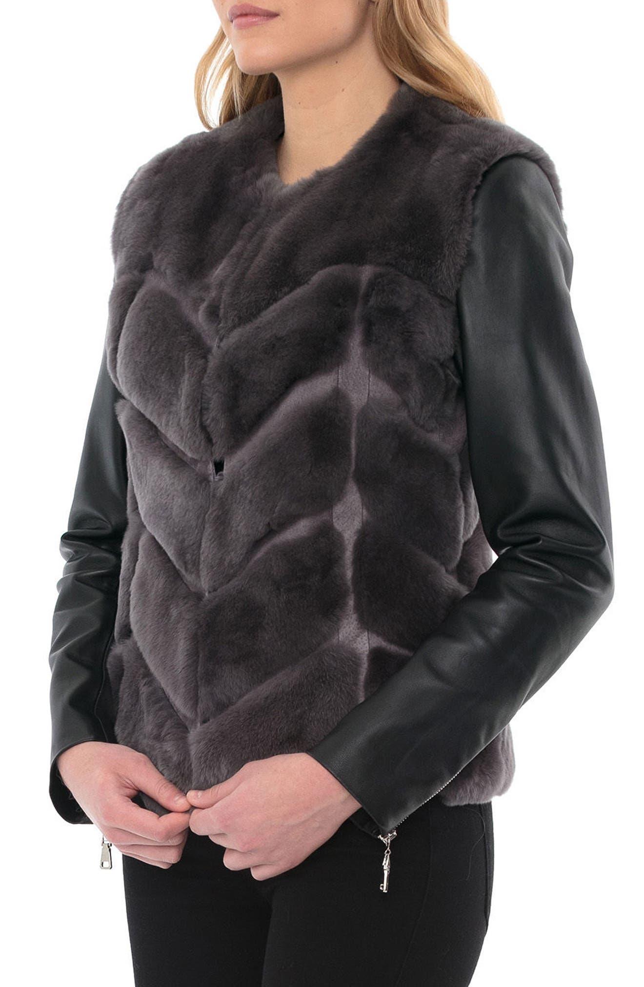 Genuine Rabbit Fur & Leather Jacket,                             Alternate thumbnail 3, color,                             028