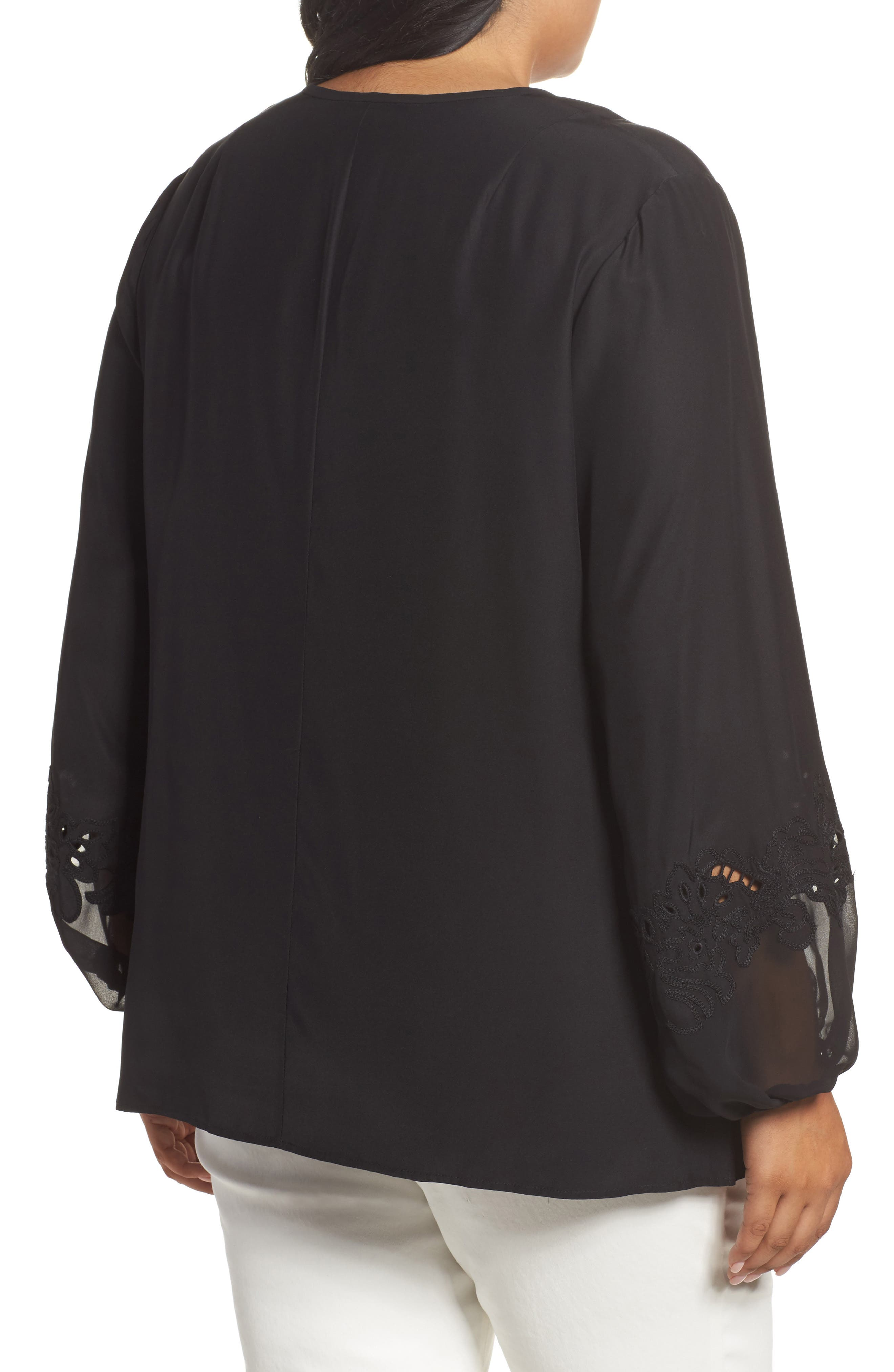 Eli Embroidered Cuff Silk Blouse,                             Alternate thumbnail 2, color,