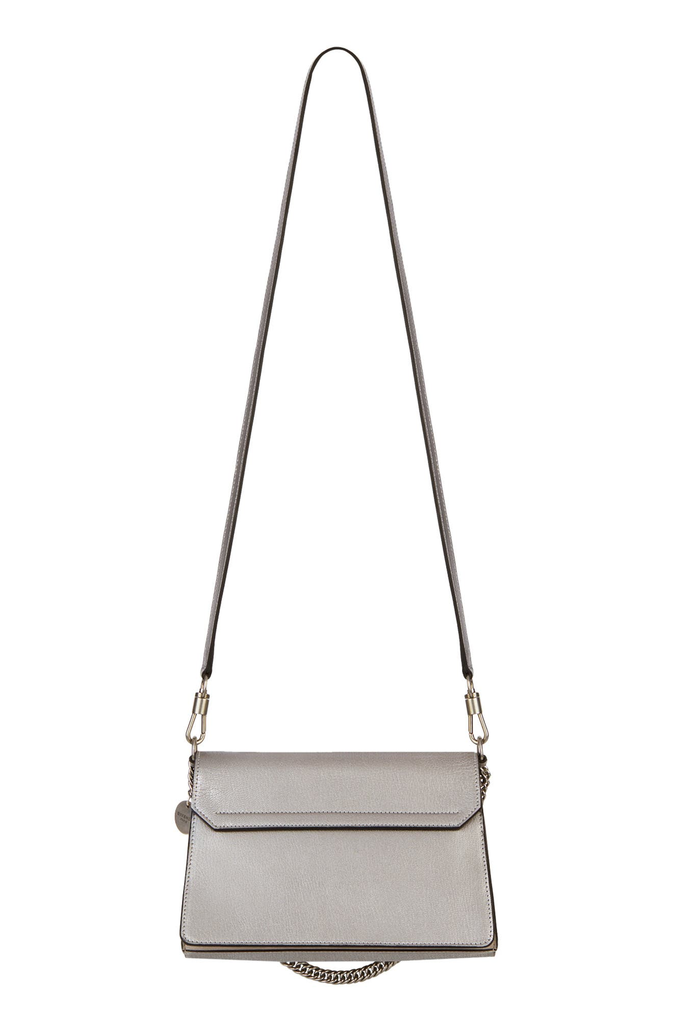 GIVENCHY,                             Small GV3 Leather & Suede Crossbody Bag,                             Alternate thumbnail 2, color,                             SILVER/ NATURAL