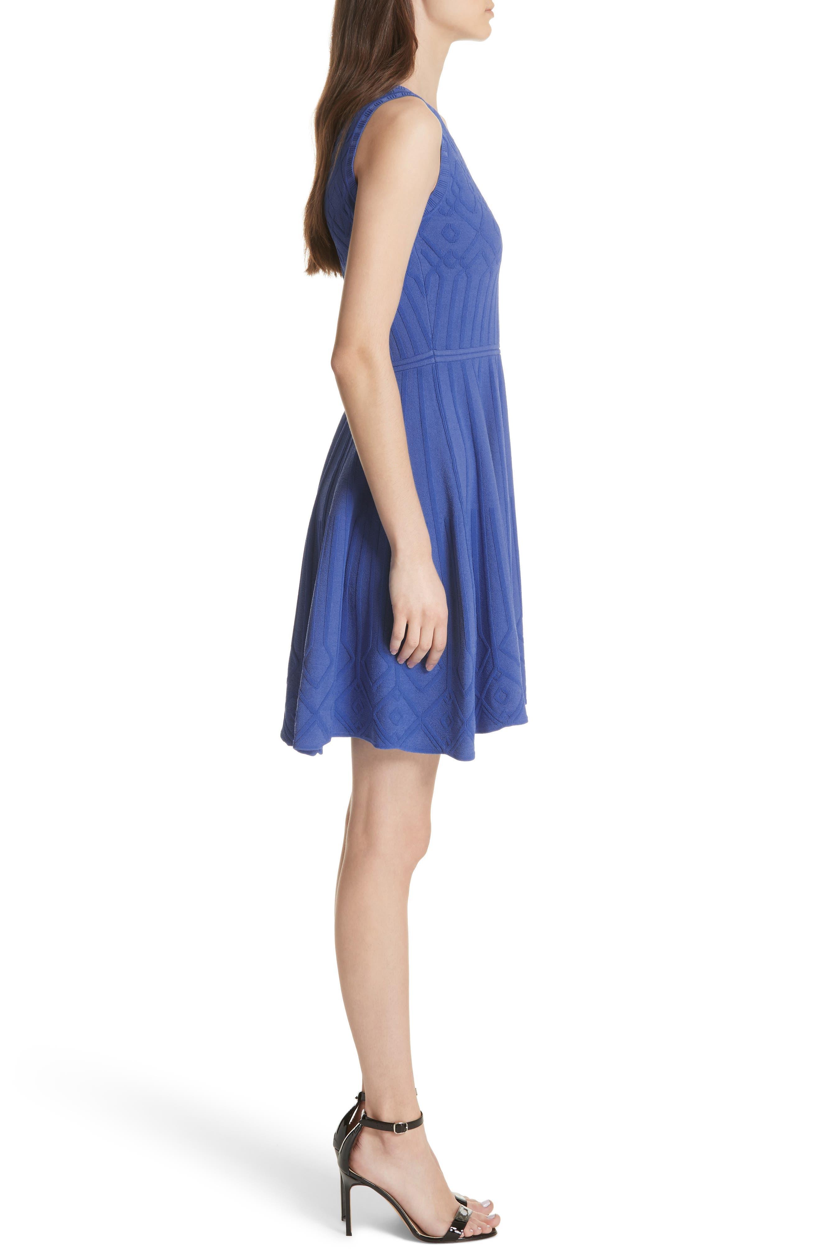 Mosaic Texture Knit Fit & Flare Dress,                             Alternate thumbnail 3, color,                             473