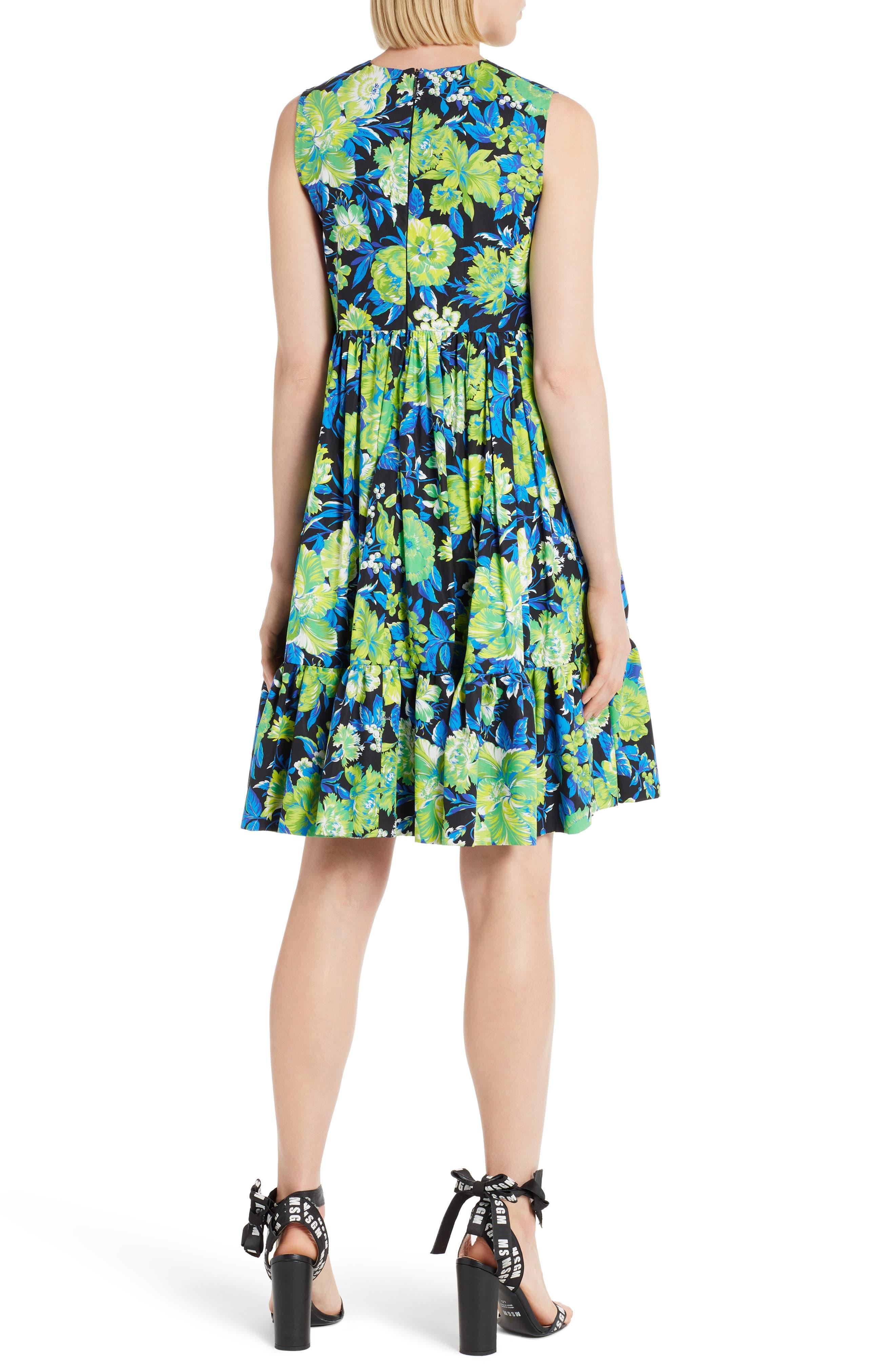 Floral Print A-Line Dress,                             Alternate thumbnail 2, color,                             009