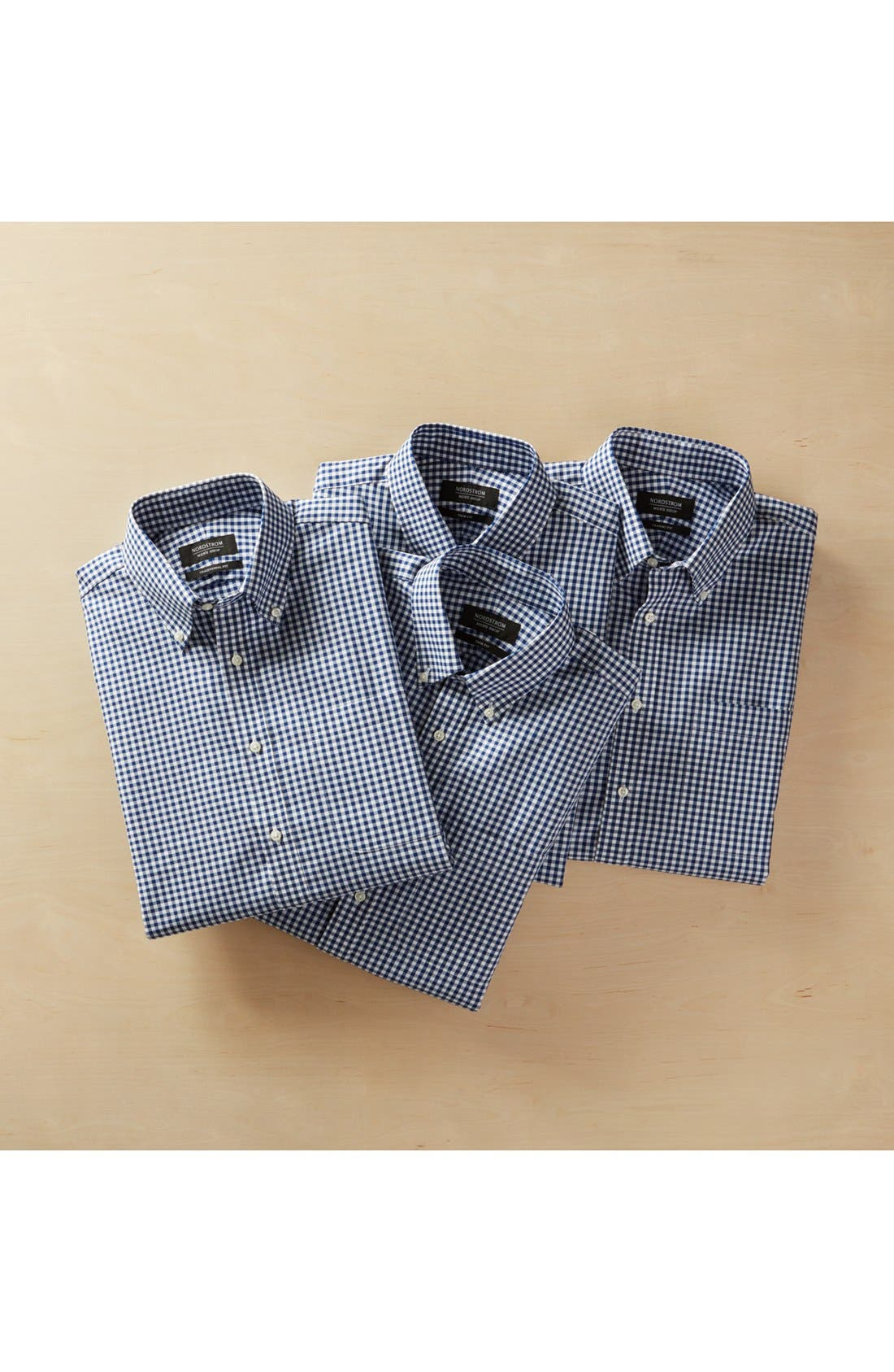 Classic Fit Non-Iron Gingham Dress Shirt,                             Alternate thumbnail 7, color,                             BLACK ROCK