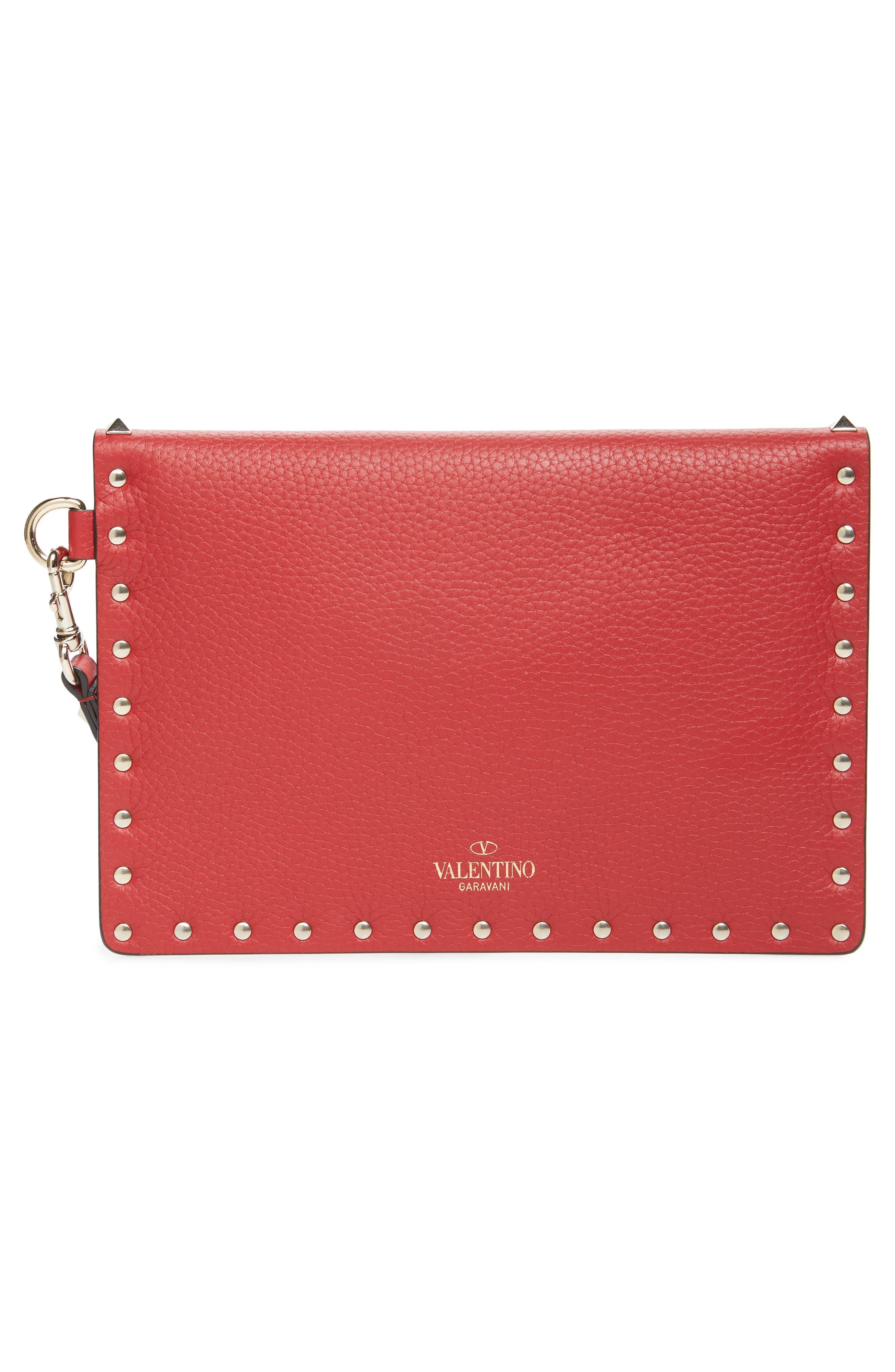 Medium Rockstud Leather Envelope Pouch,                             Alternate thumbnail 3, color,                             ROSSO V
