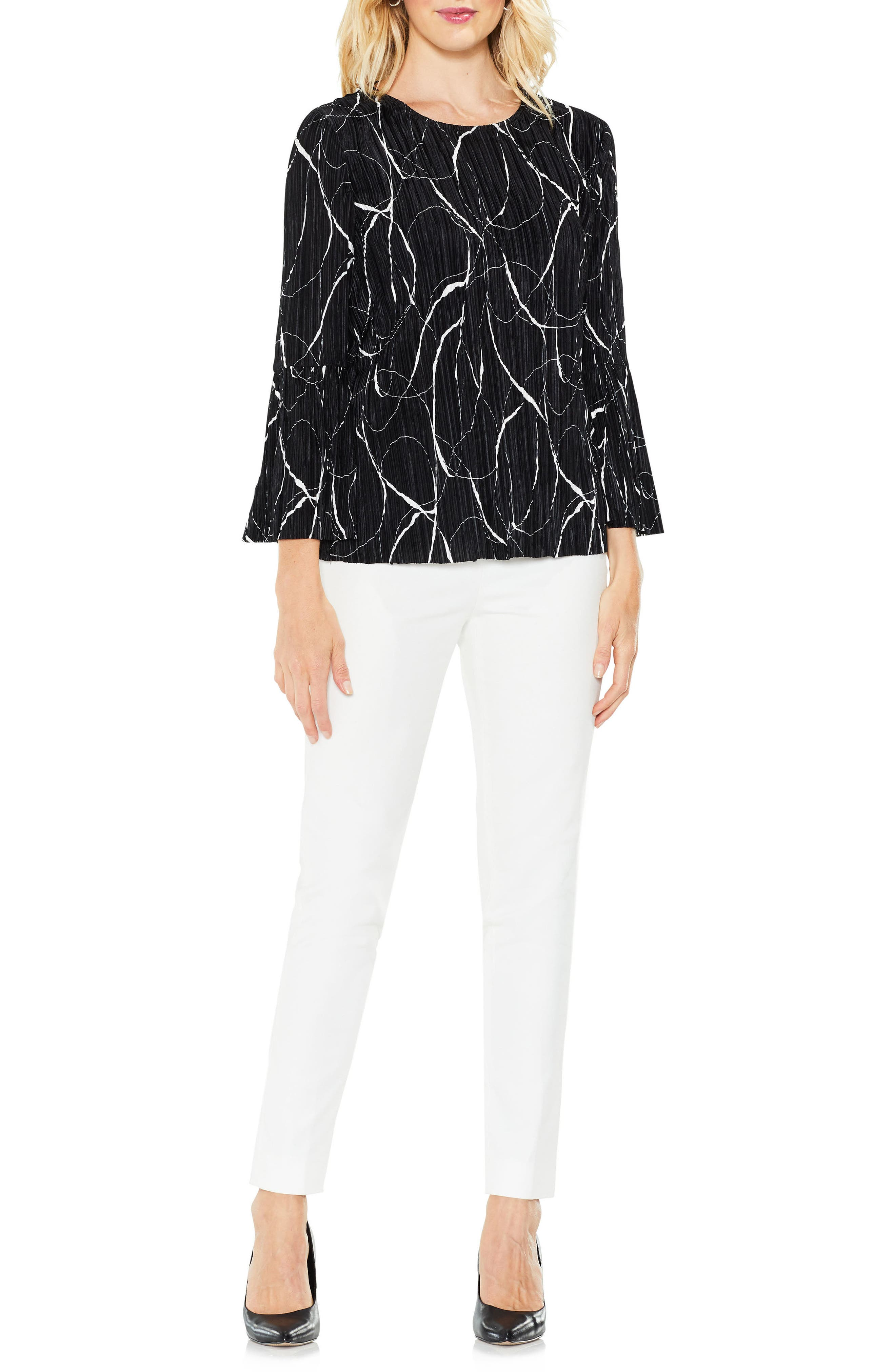 Ink Swirl Bell Sleeve Top,                         Main,                         color, 010
