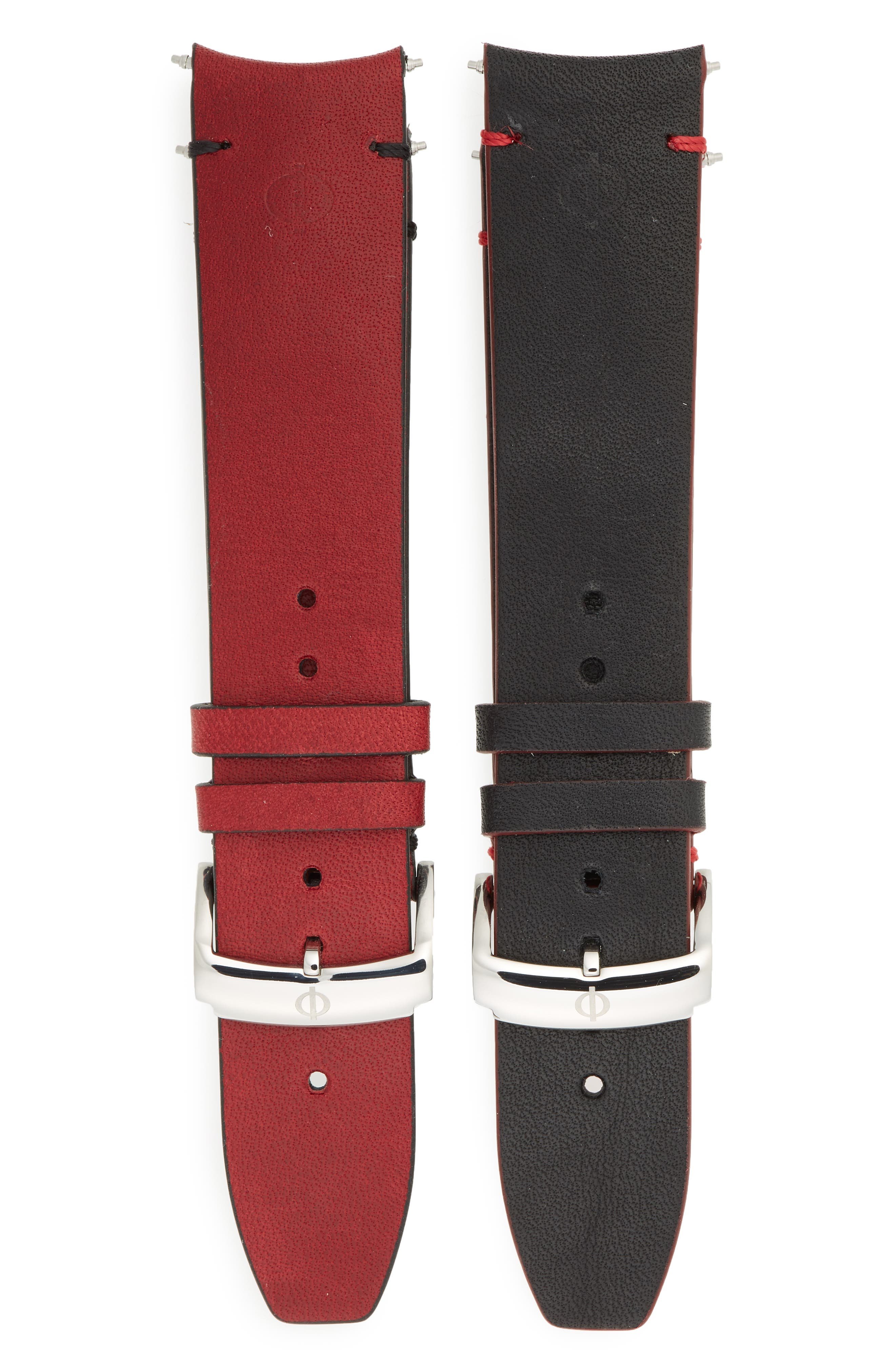 Clifton Limited Edition Automatic Leather Strap Watch, 44mm,                             Alternate thumbnail 5, color,                             WHITE/RED
