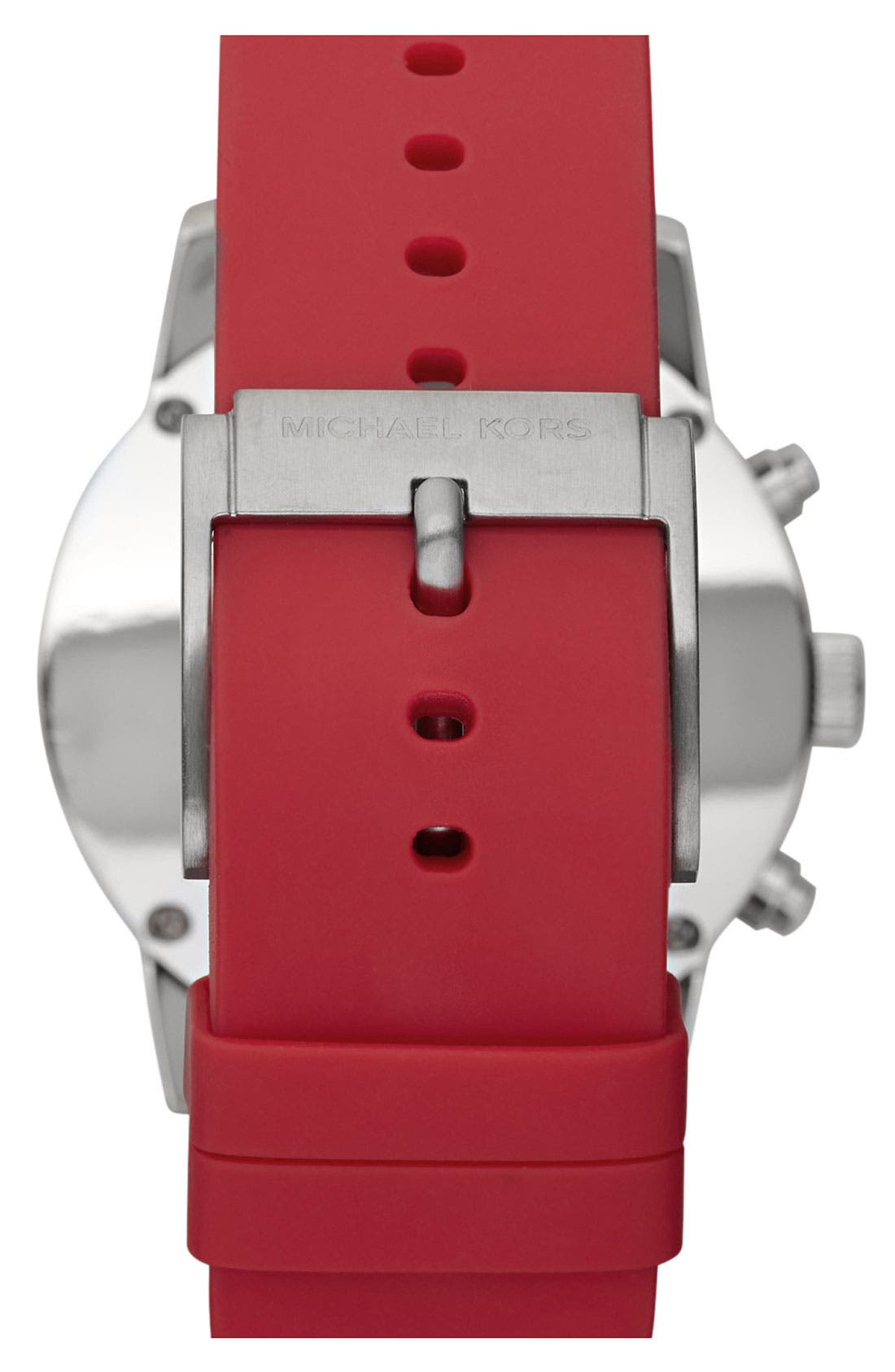 Michael Kors 'Scout' Chronograph Silicone Strap Watch, 43mm,                             Alternate thumbnail 8, color,