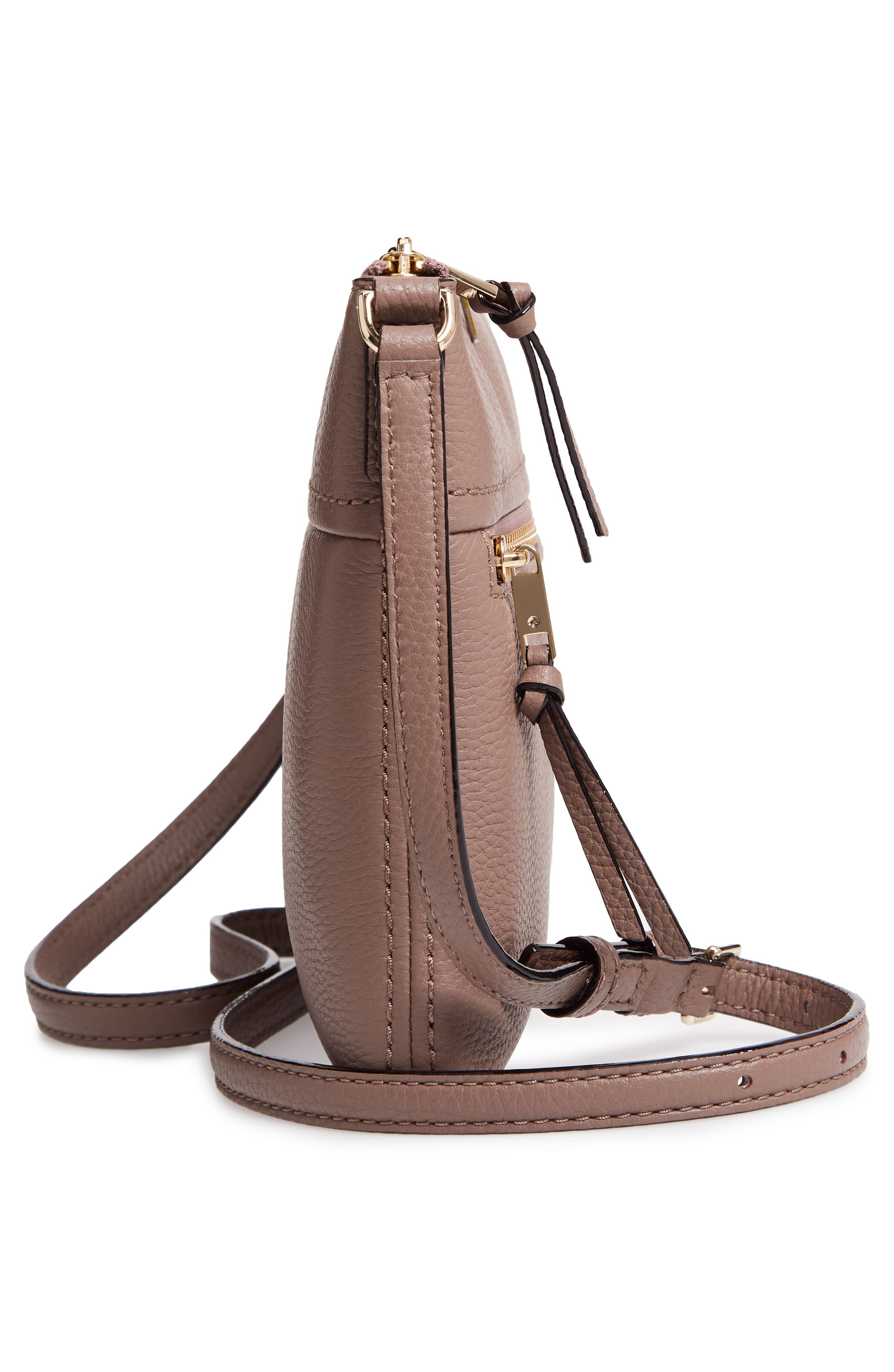 jackson street - gabriele leather crossbody bag,                             Alternate thumbnail 5, color,                             BROWNSTONE