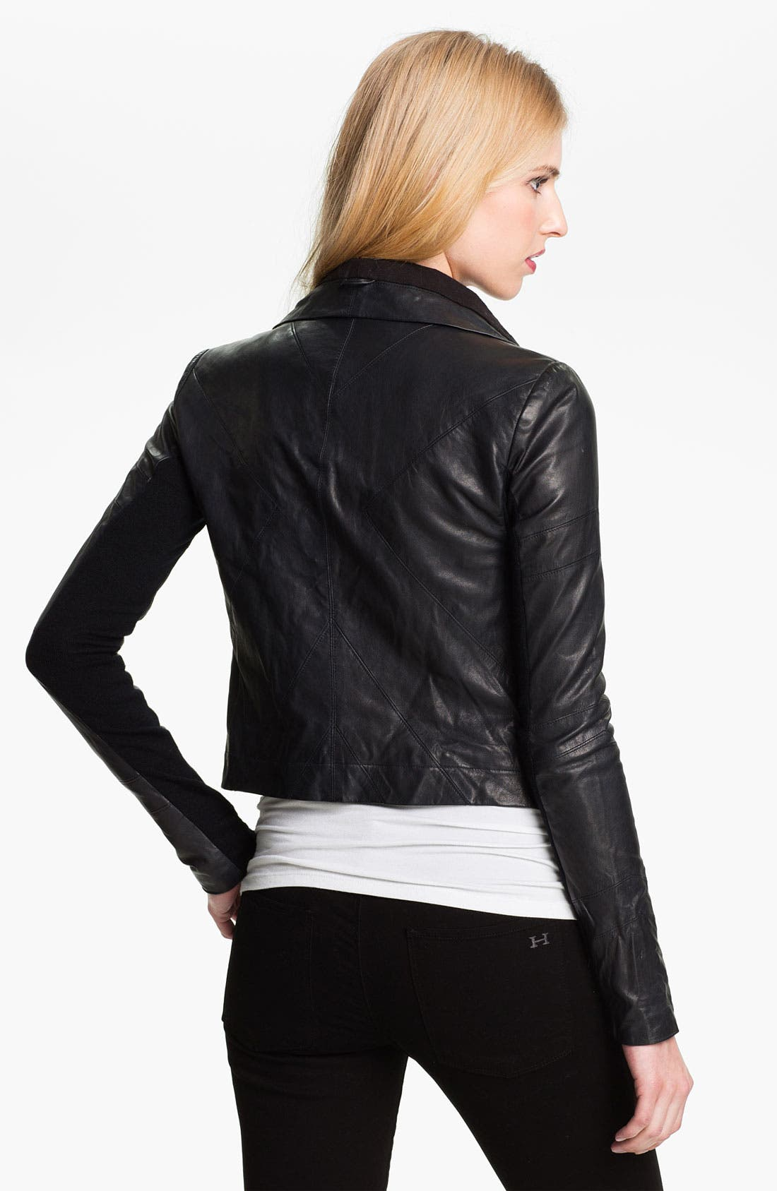 'Max' Seamed Leather Moto Jacket,                             Alternate thumbnail 3, color,                             401