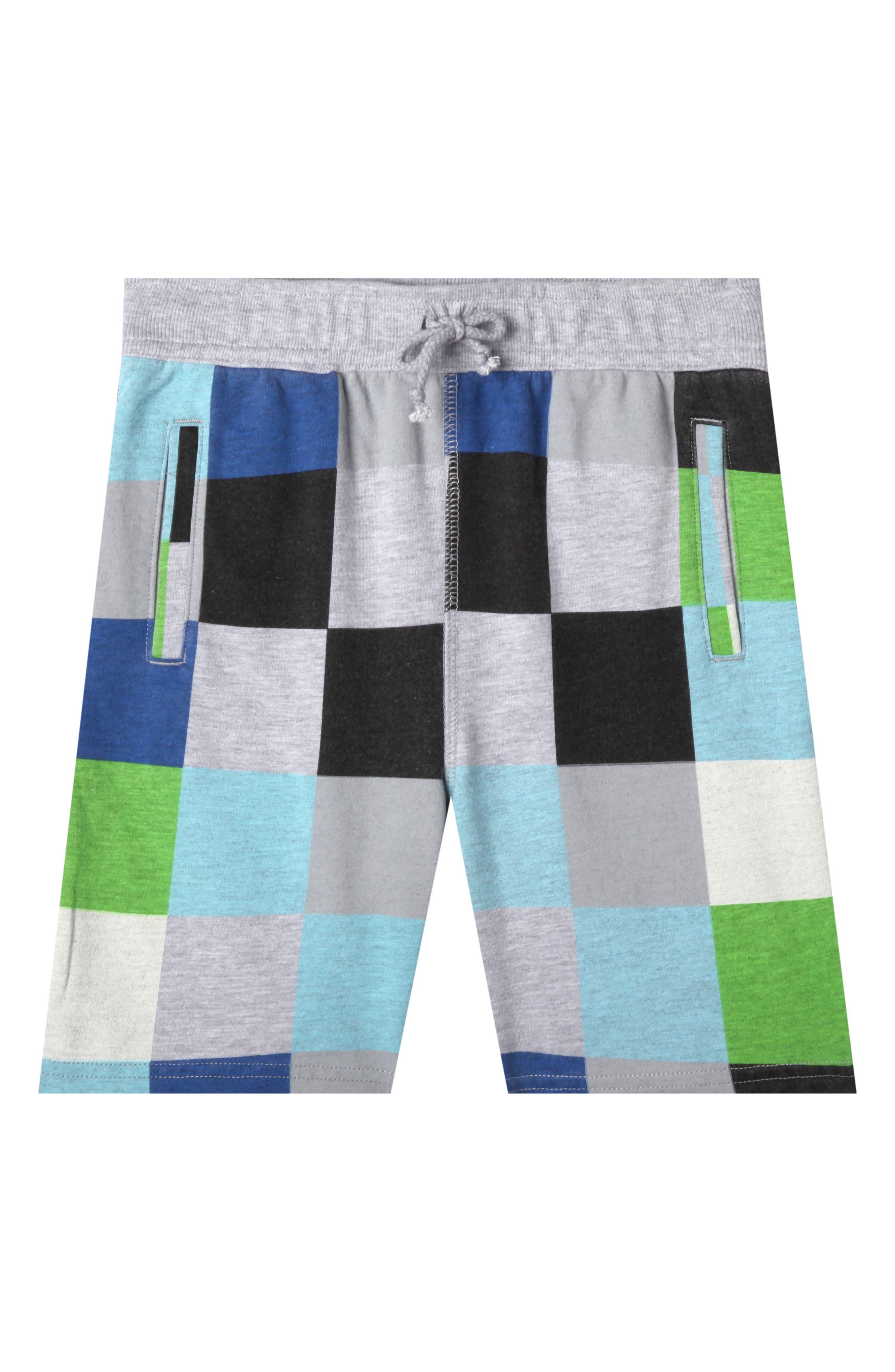 Lucas Print Knit Shorts,                         Main,                         color, WAVE BLUE