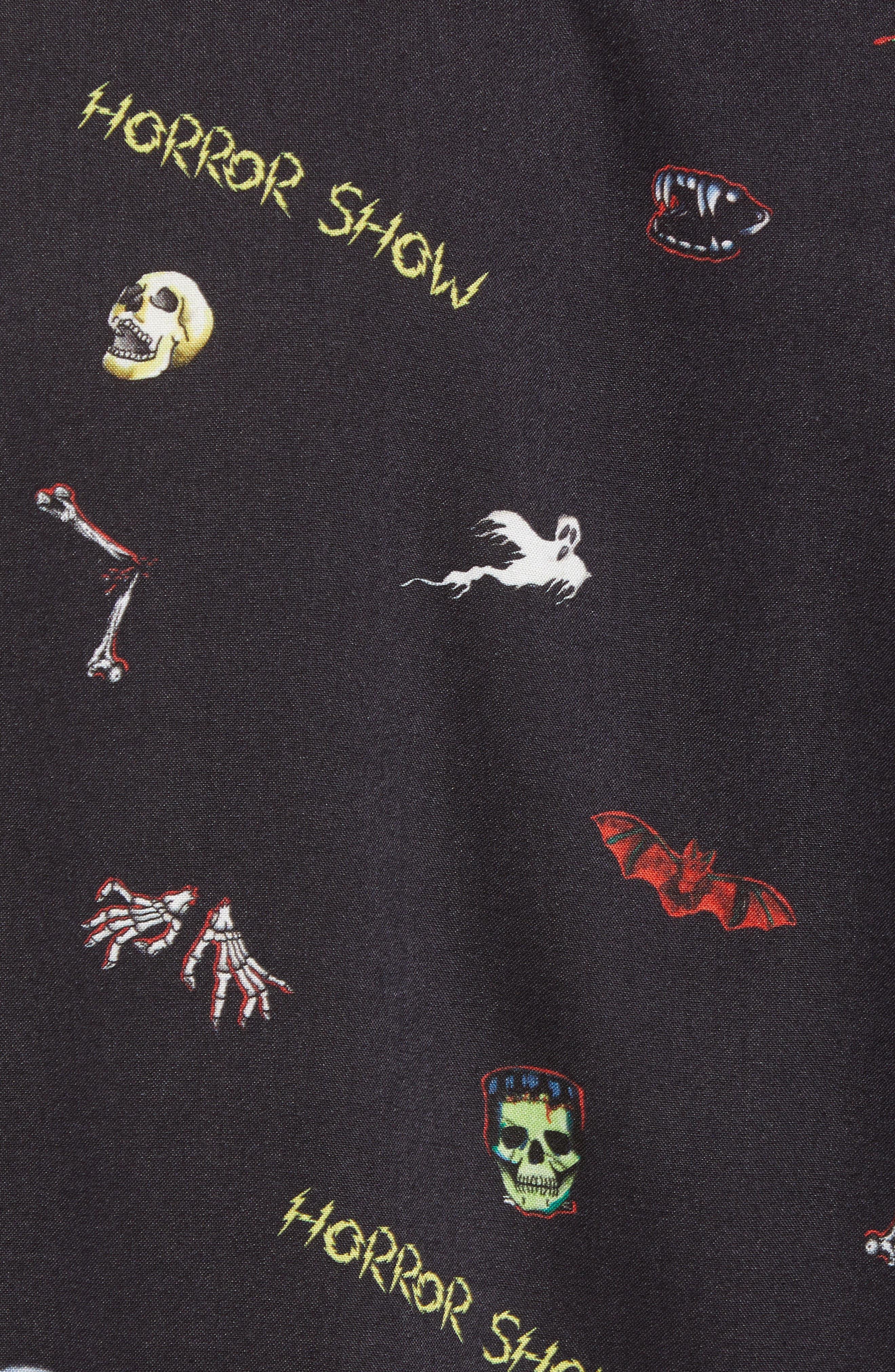 Regular Fit Horror Show Print Sport Shirt,                             Alternate thumbnail 5, color,                             BLACK