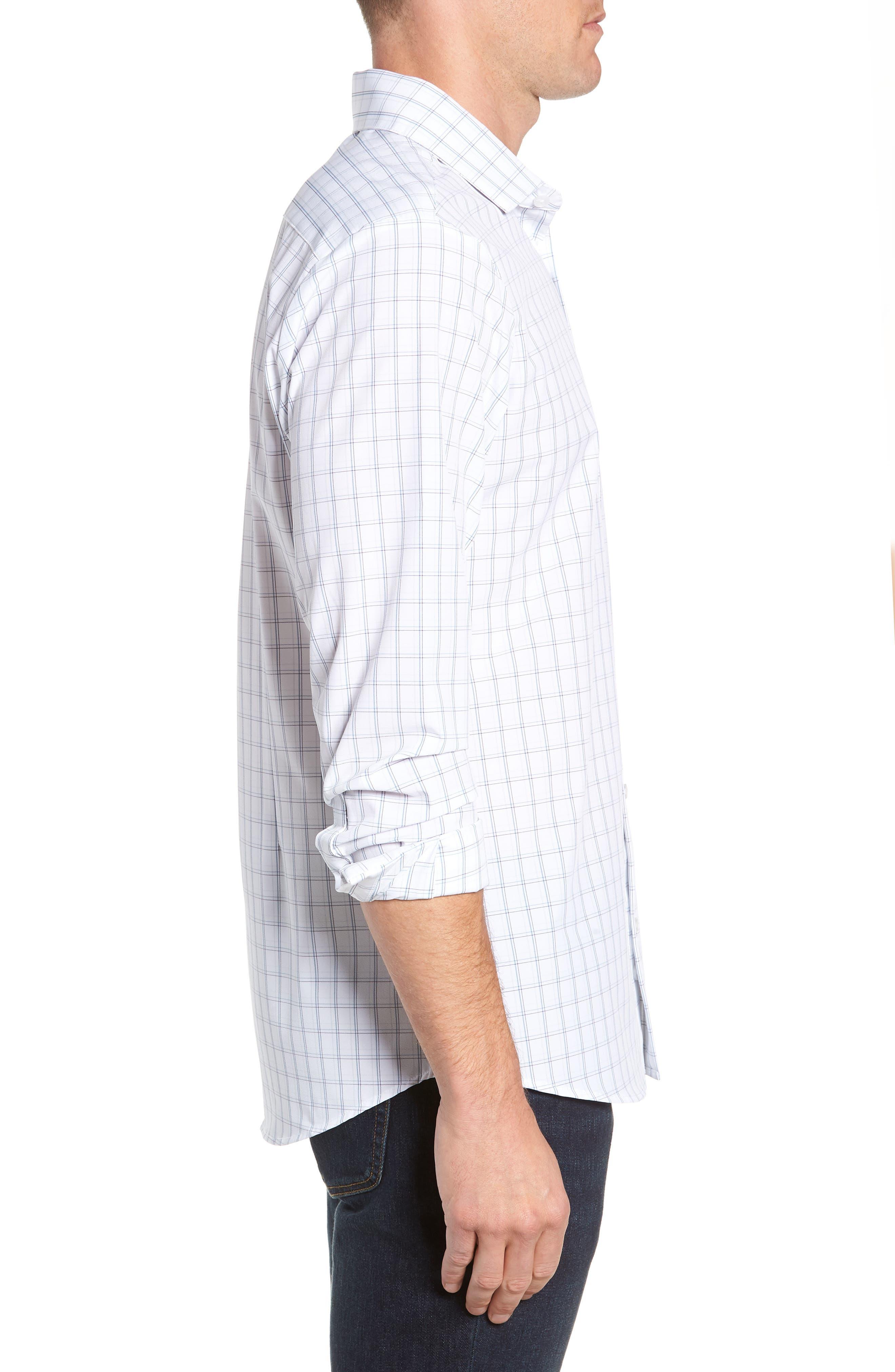 Sanders Slim Fit Check Performance Sport Shirt,                             Alternate thumbnail 4, color,                             WHITE