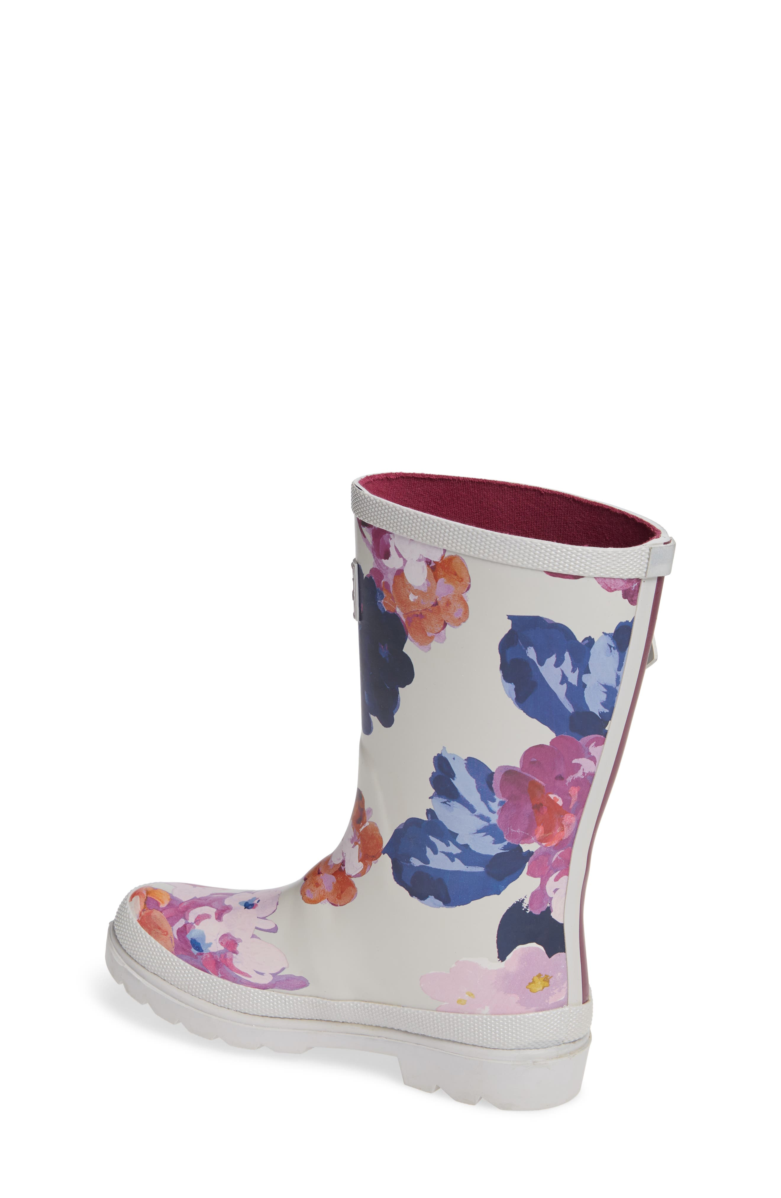 Mid Height Print Welly Waterproof Rain Boot,                             Alternate thumbnail 2, color,                             GREY PAINTED FLORAL