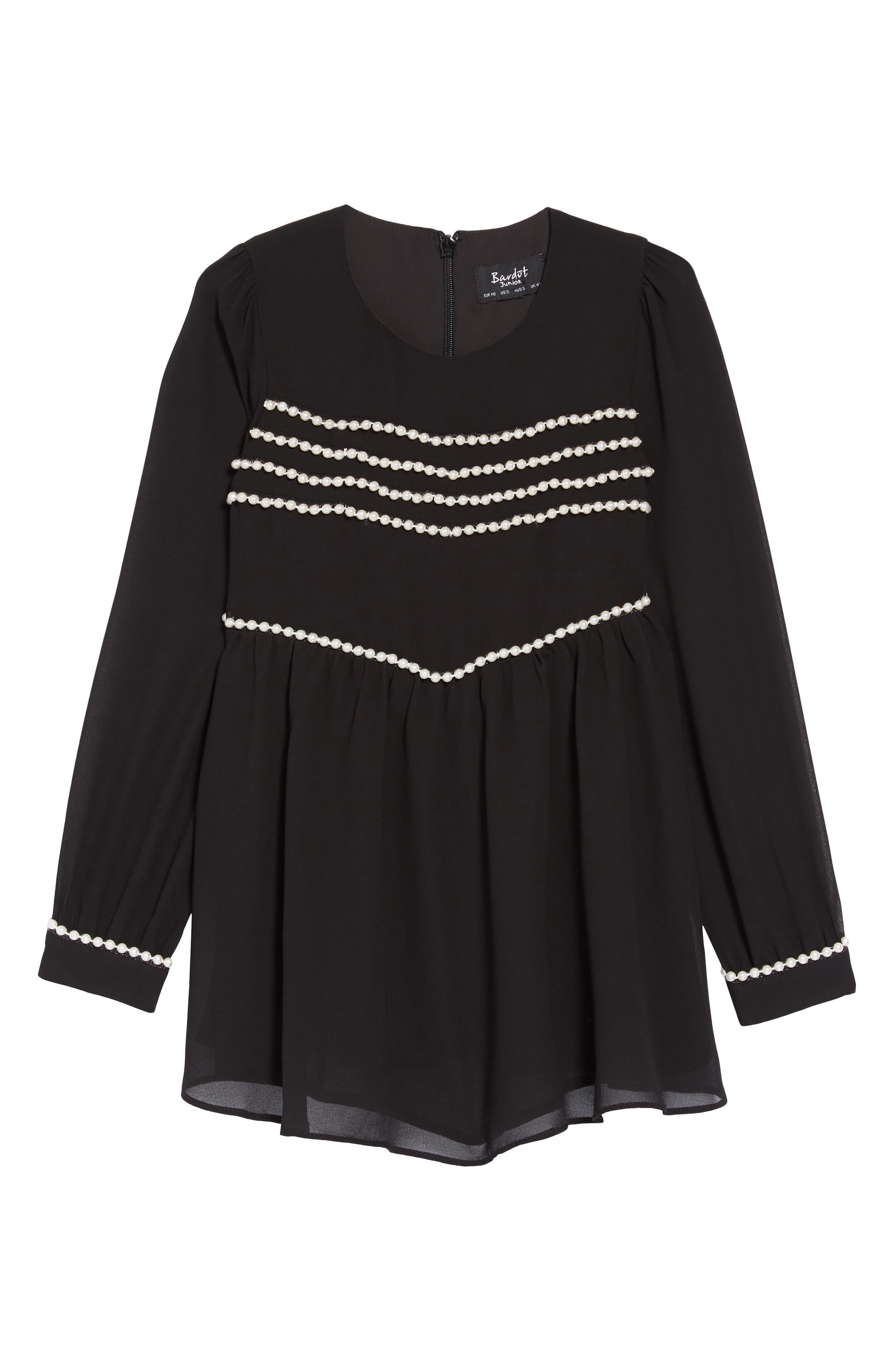 Valentina Imitation Pearl Beaded Dress,                             Main thumbnail 1, color,                             BLACK