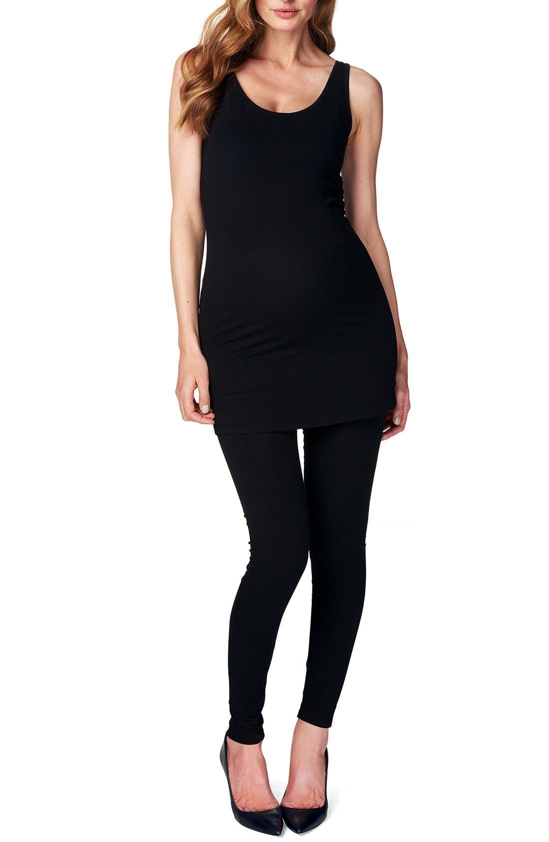 'Amsterdam' Scoop Neck Long Maternity Top,                         Main,                         color, BLACK