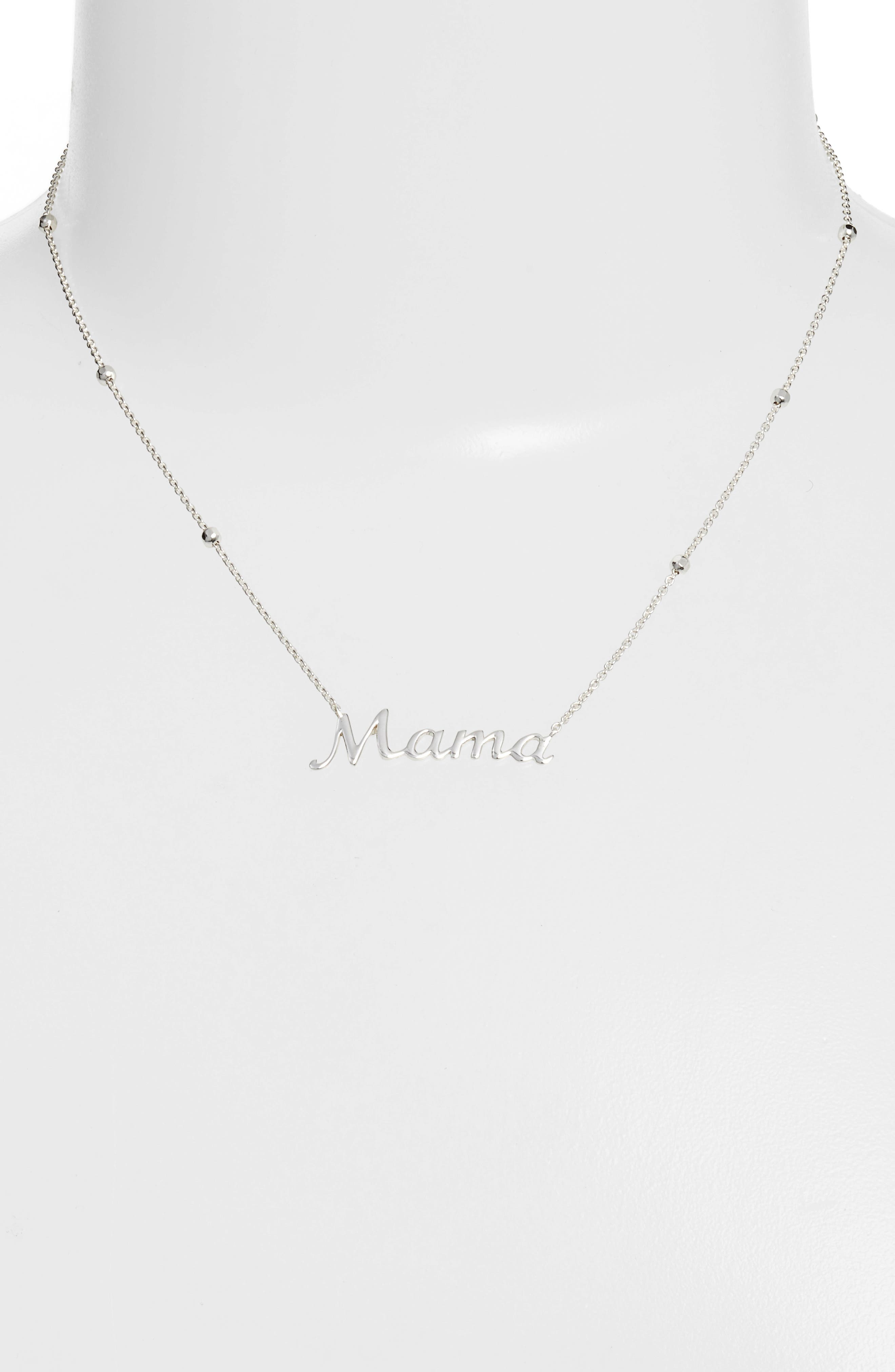 Mama Pendant Necklace,                             Alternate thumbnail 2, color,                             SILVER