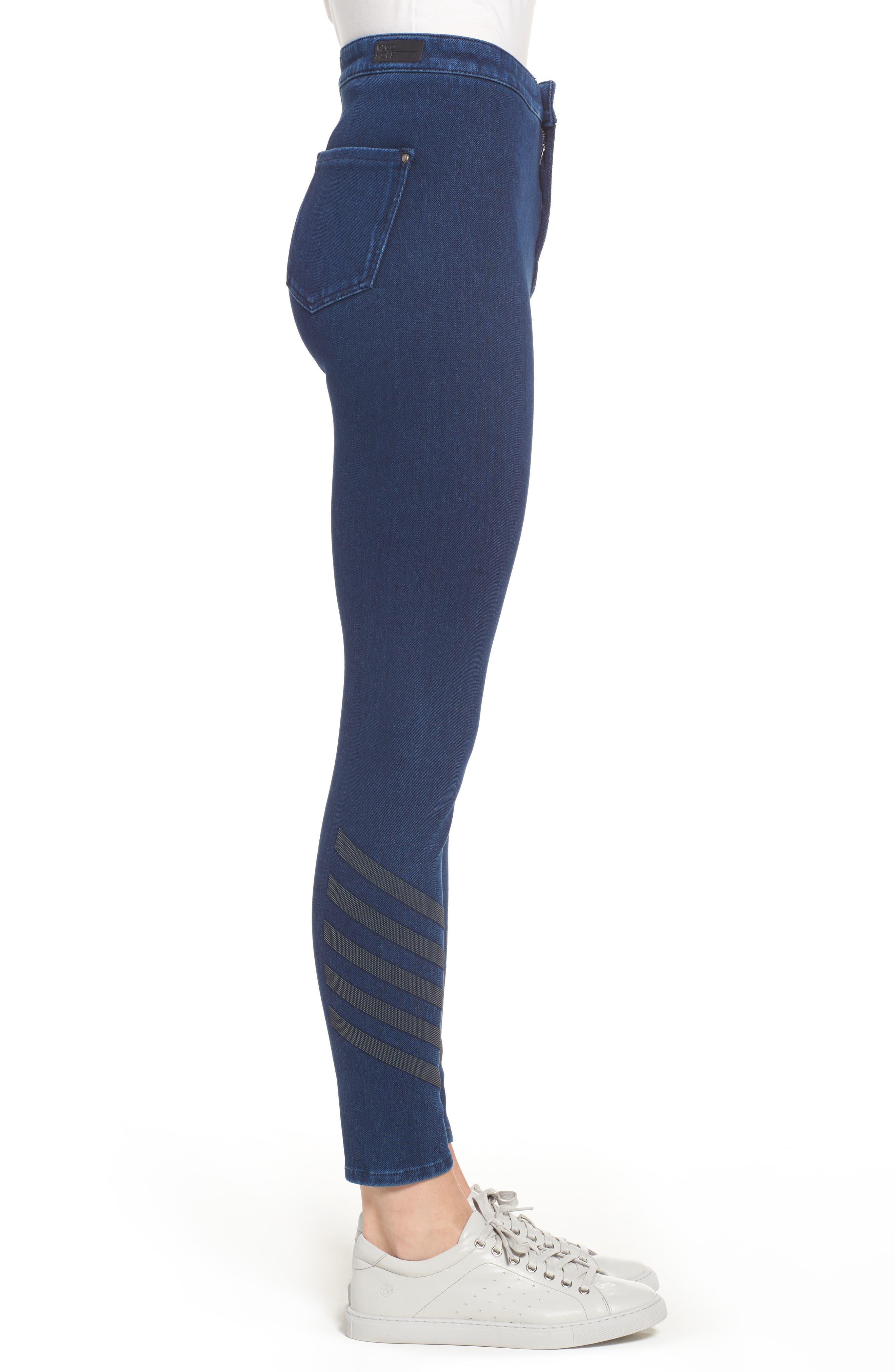 Joie Embellished High Waist Skinny Jeans,                             Alternate thumbnail 3, color,