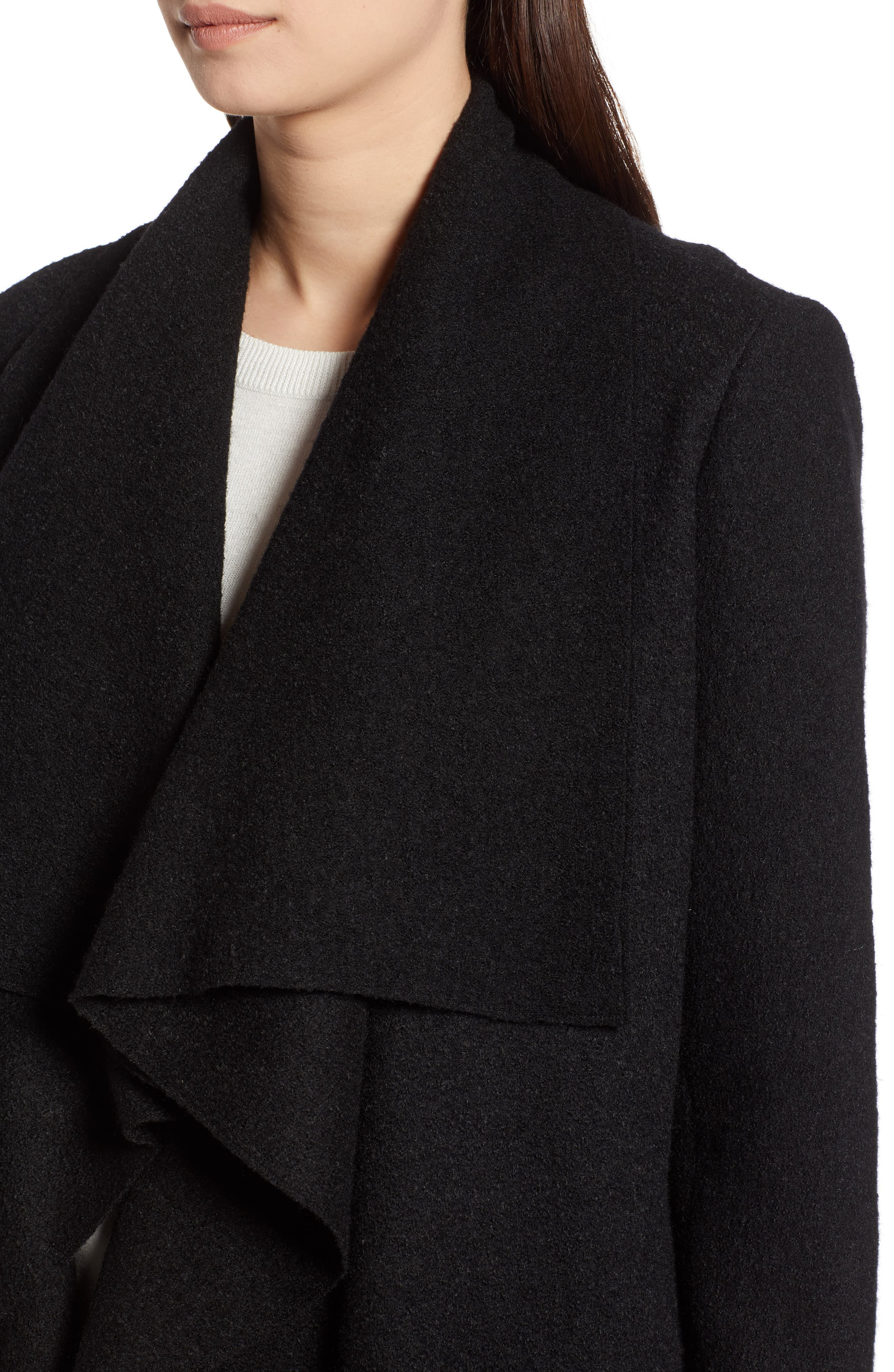 Boiled Wool Blend Drape Front Coat,                             Alternate thumbnail 4, color,                             001
