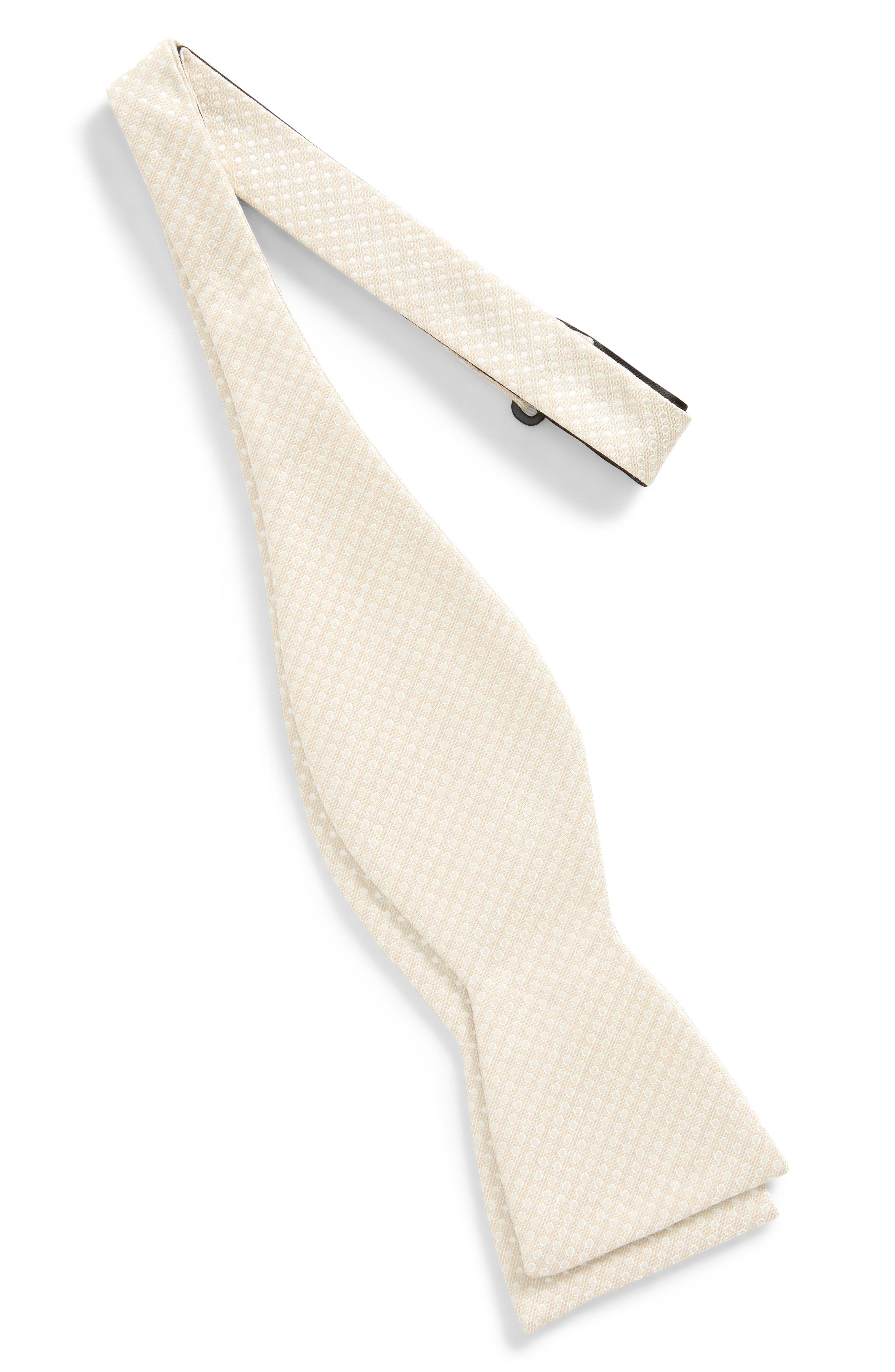 Dotted Spin Silk & Linen Bow Tie,                             Alternate thumbnail 5, color,