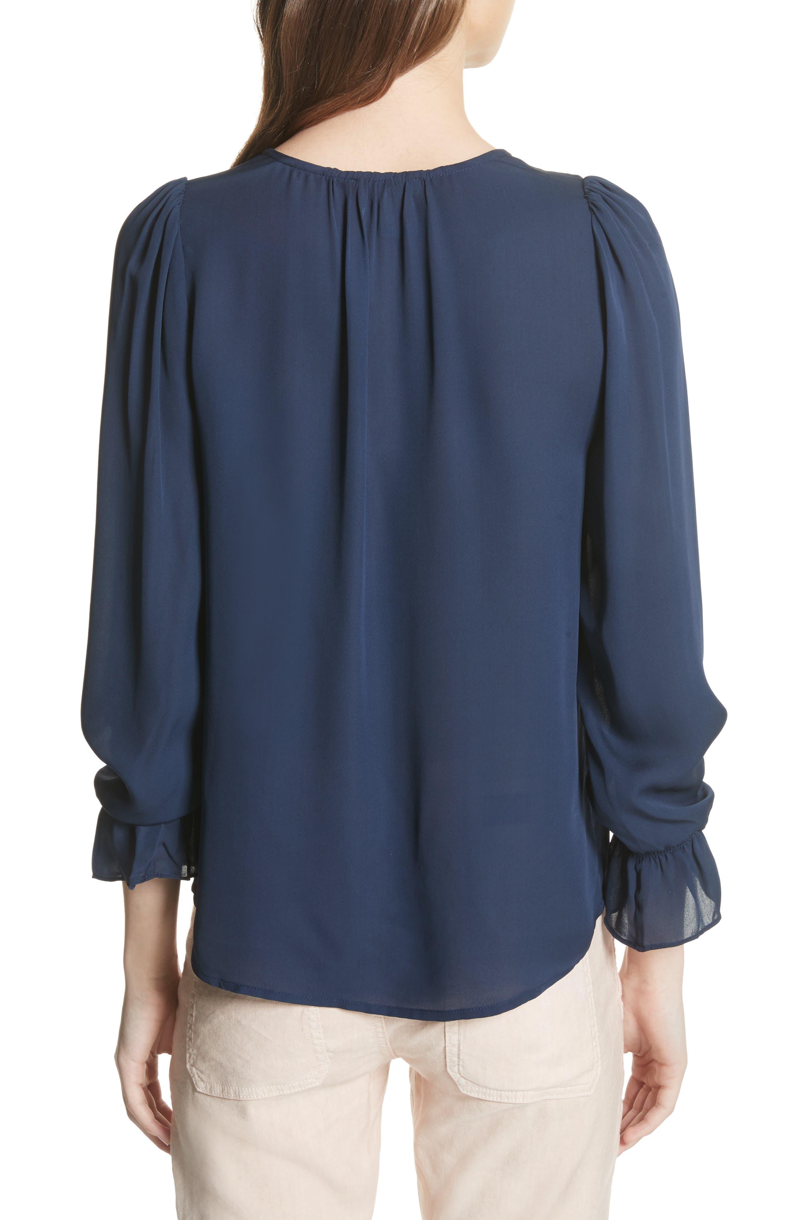 Bolona Silk Gathered Sleeve Top,                             Alternate thumbnail 2, color,                             410