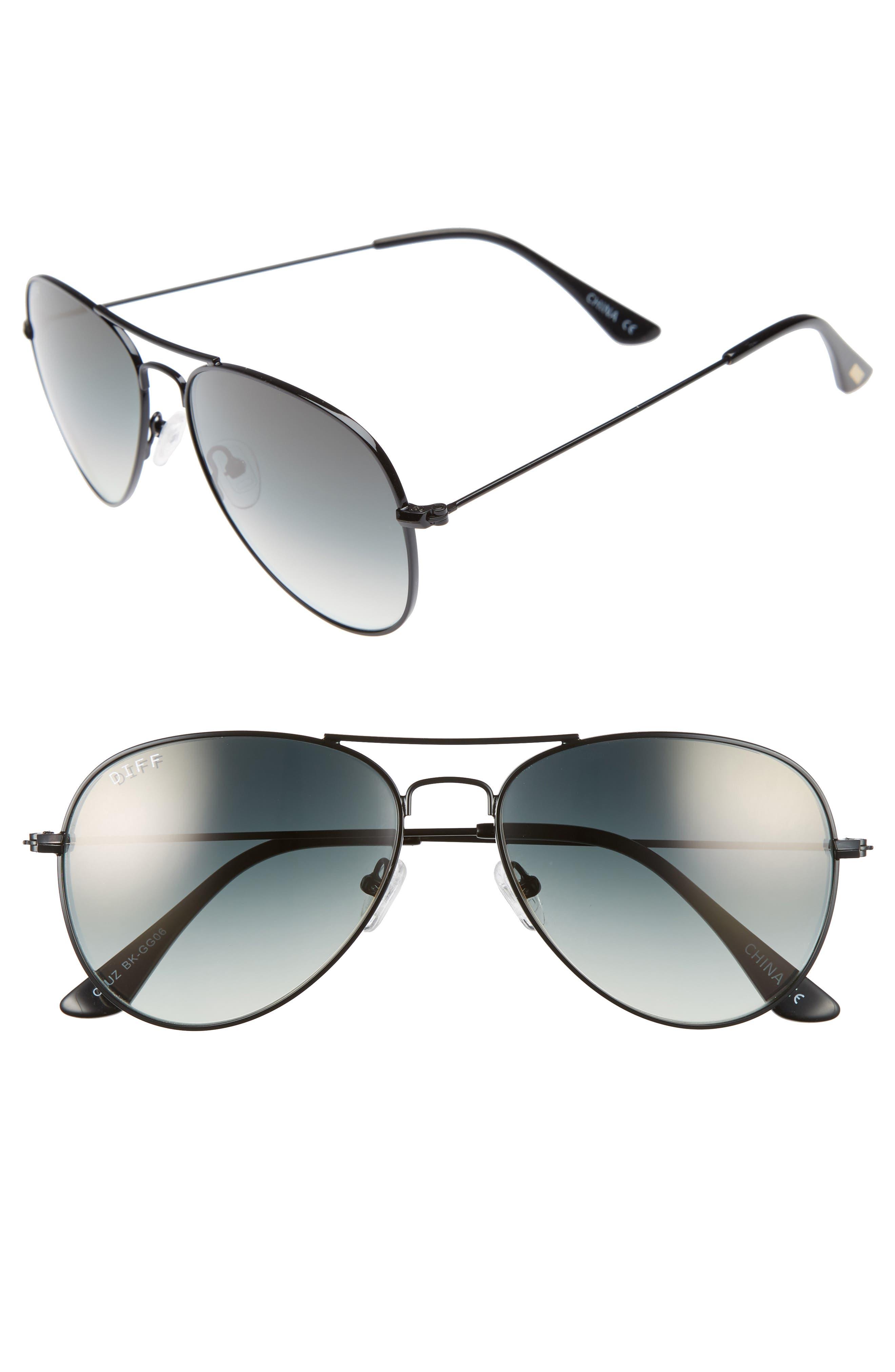 Cruz 57mm Metal Aviator Sunglasses,                         Main,                         color, BLACK/ GREY