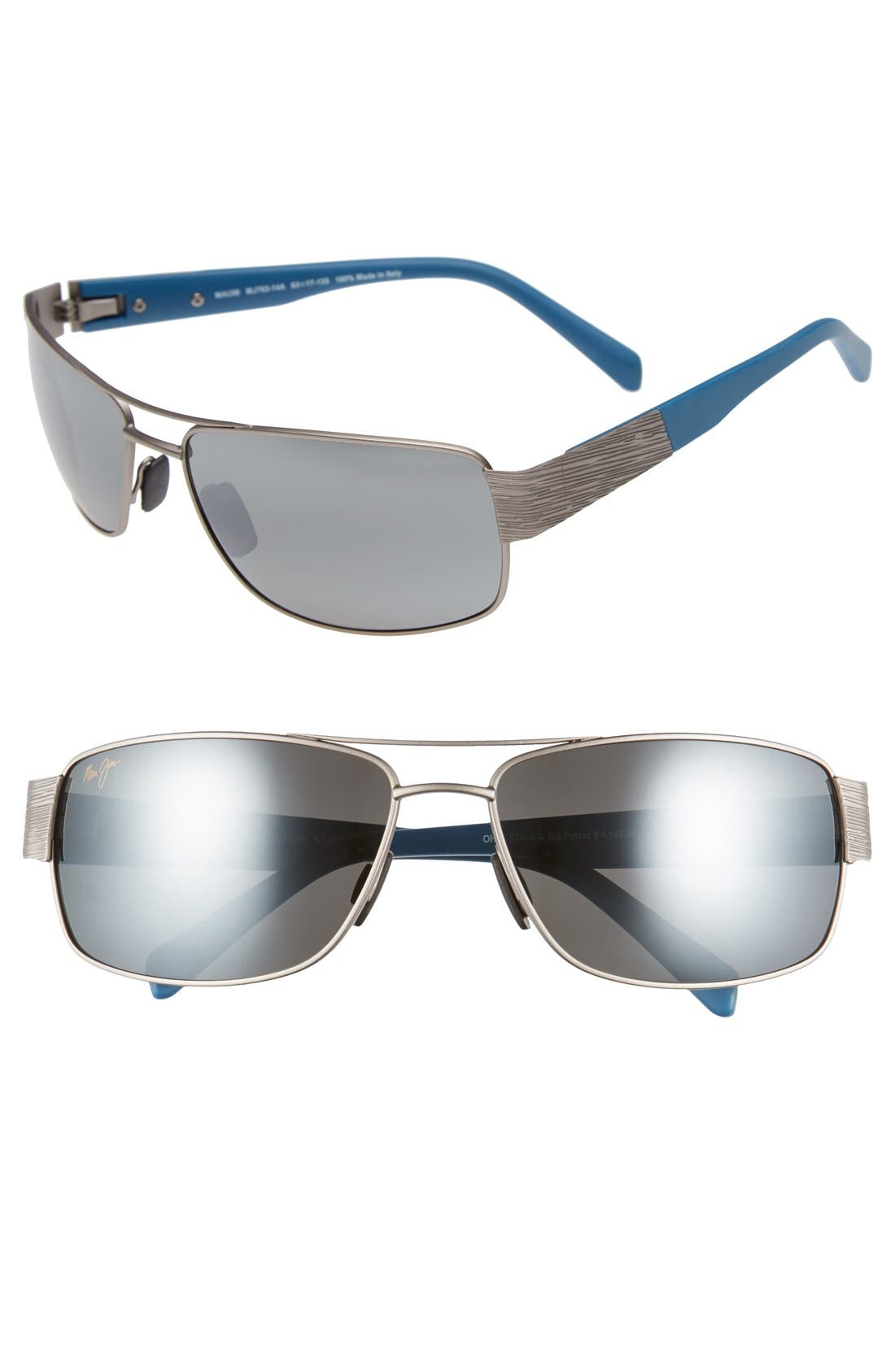 'Ohia' 64mm Polarized Sunglasses,                             Main thumbnail 1, color,                             SATIN GREY WITH BLUE/GREY