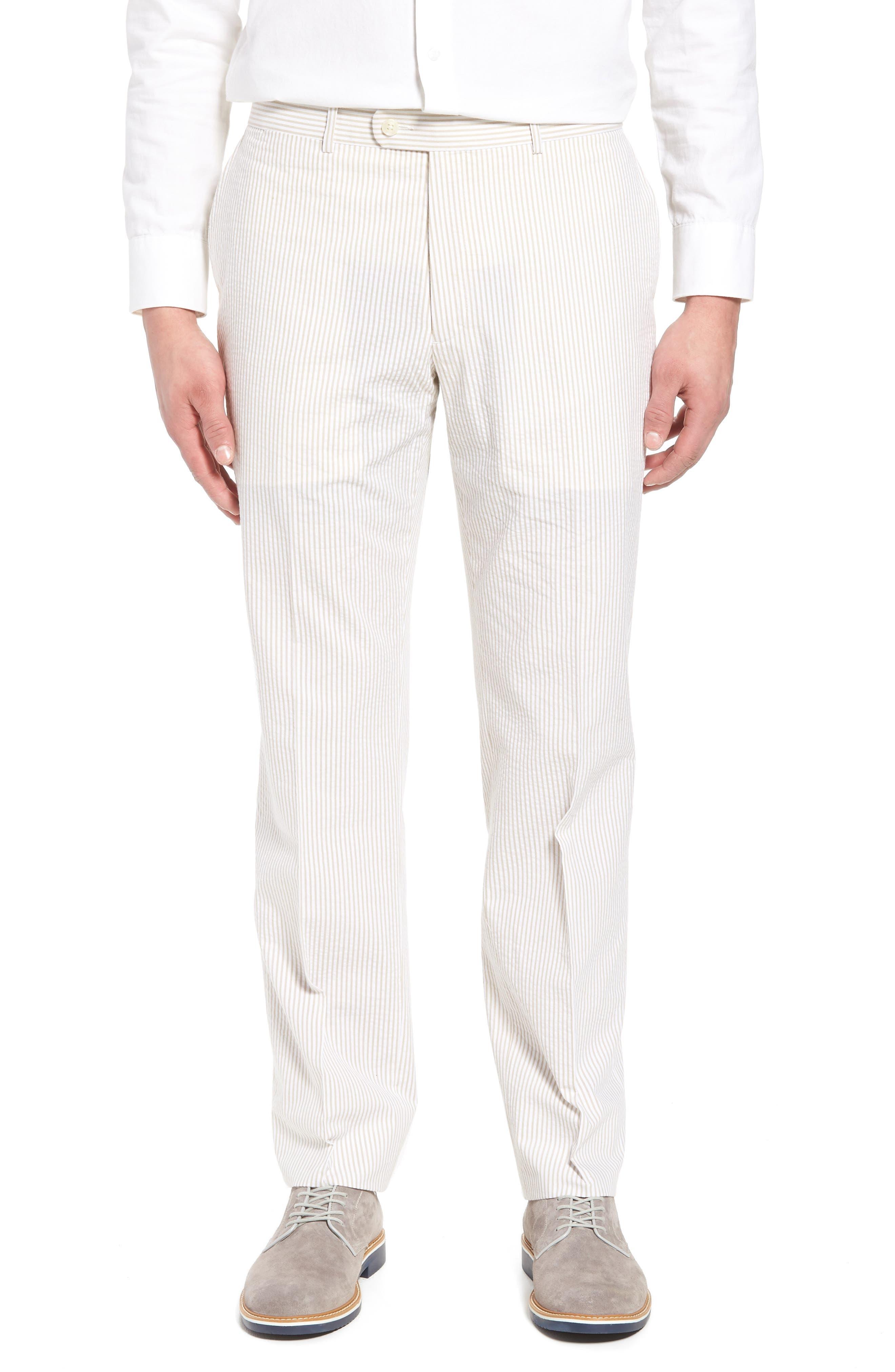 Andrew AIM Flat Front Seersucker Trousers,                         Main,                         color, 250