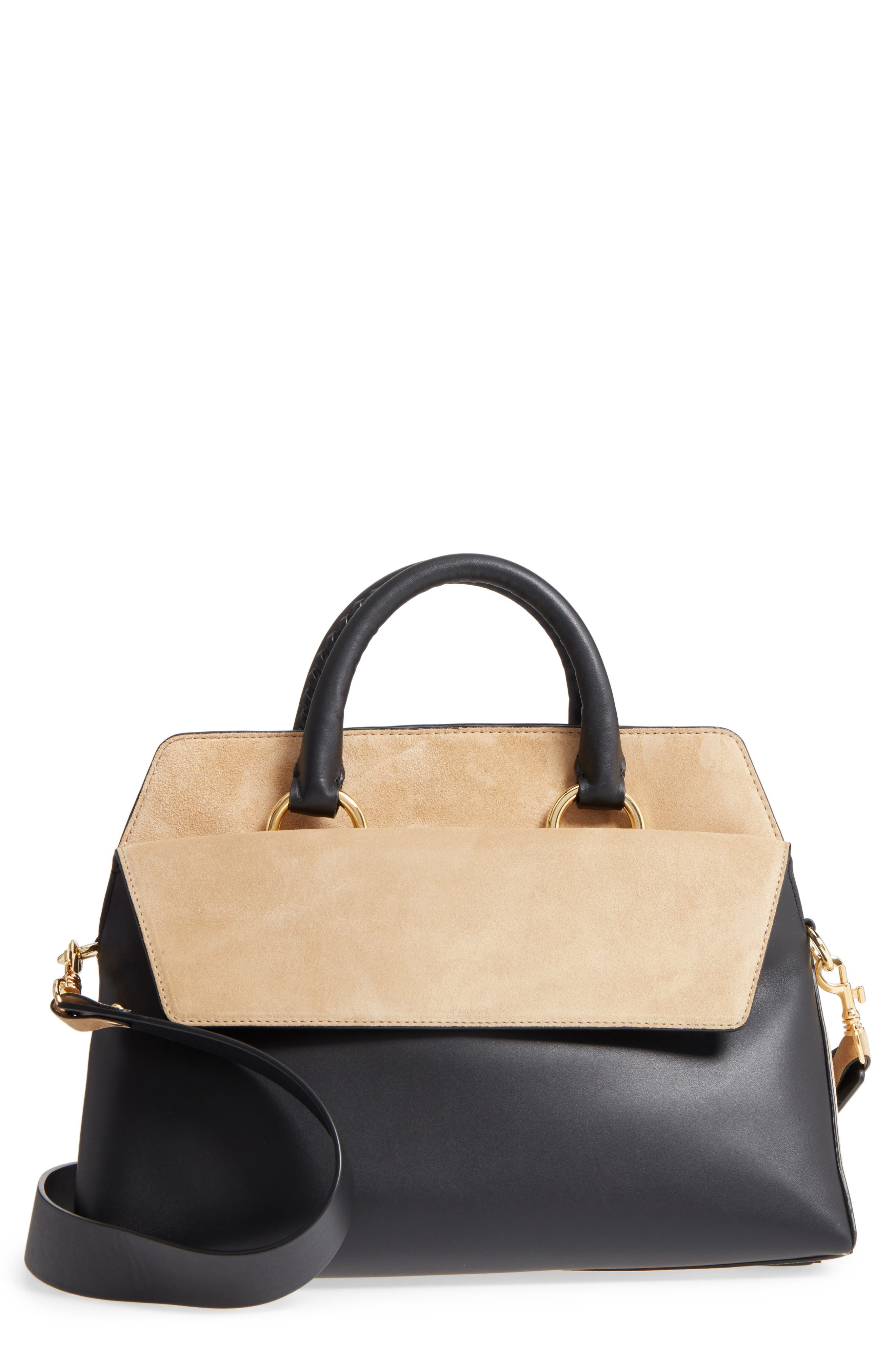 Large Leather & Suede Satchel,                         Main,                         color, 001