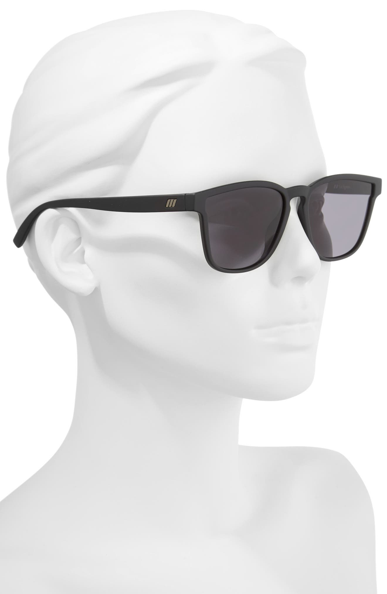History 53mm Modern Rectangle Sunglasses,                             Alternate thumbnail 2, color,                             BLACK RUBBER