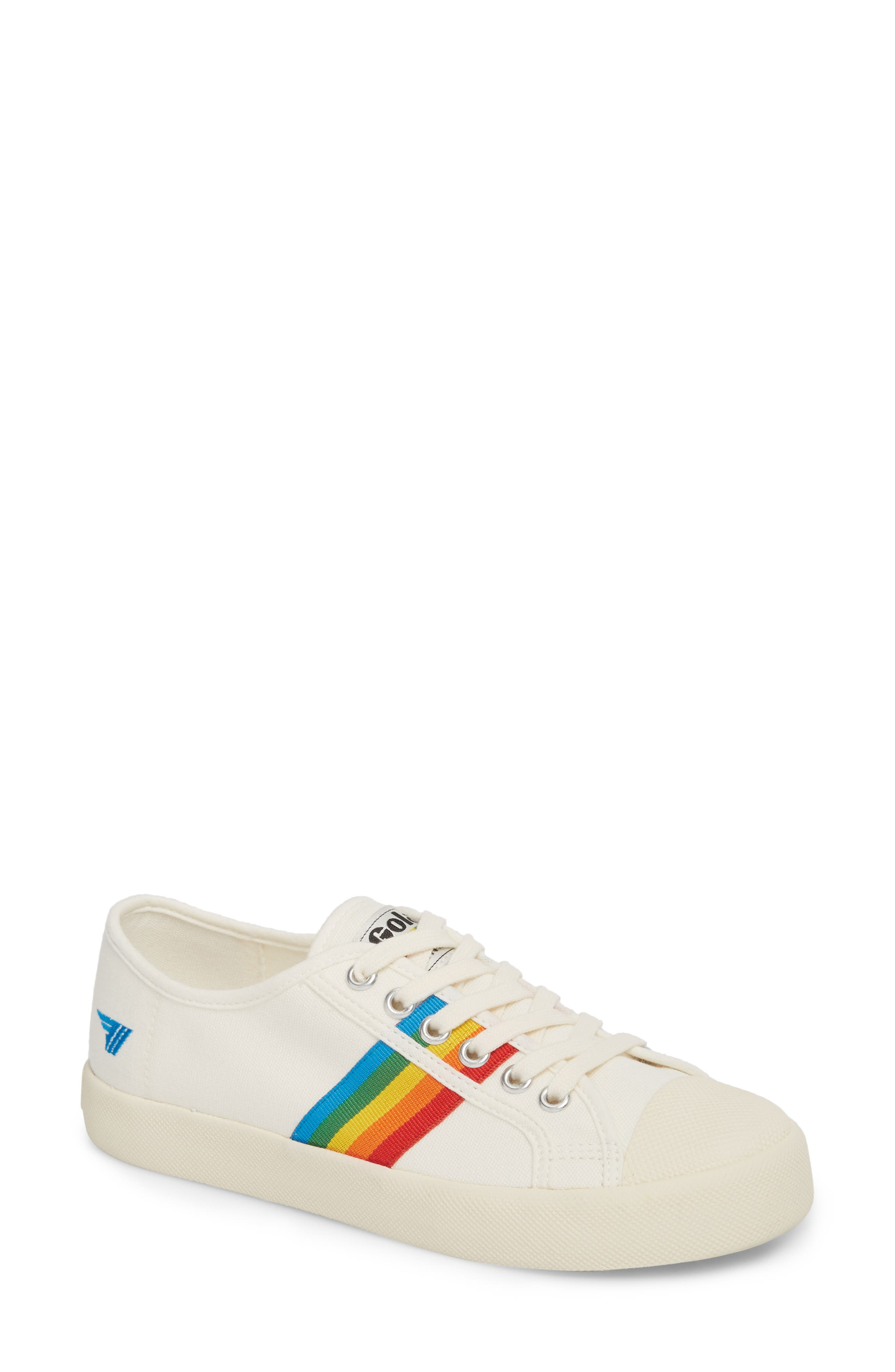 Coaster Rainbow Striped Sneaker,                             Main thumbnail 1, color,                             OFF WHITE/ MULTI CANVAS