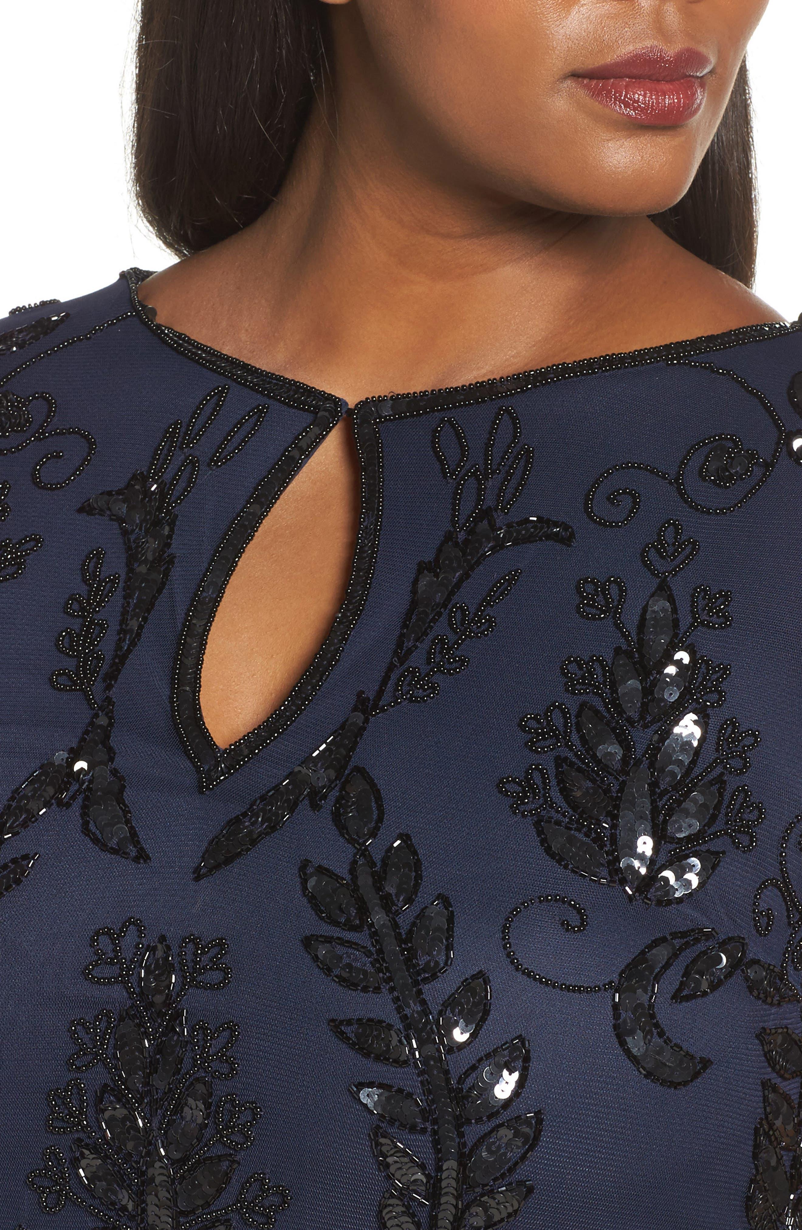 Embellished Tea Length Sheath Dress,                             Alternate thumbnail 4, color,                             415