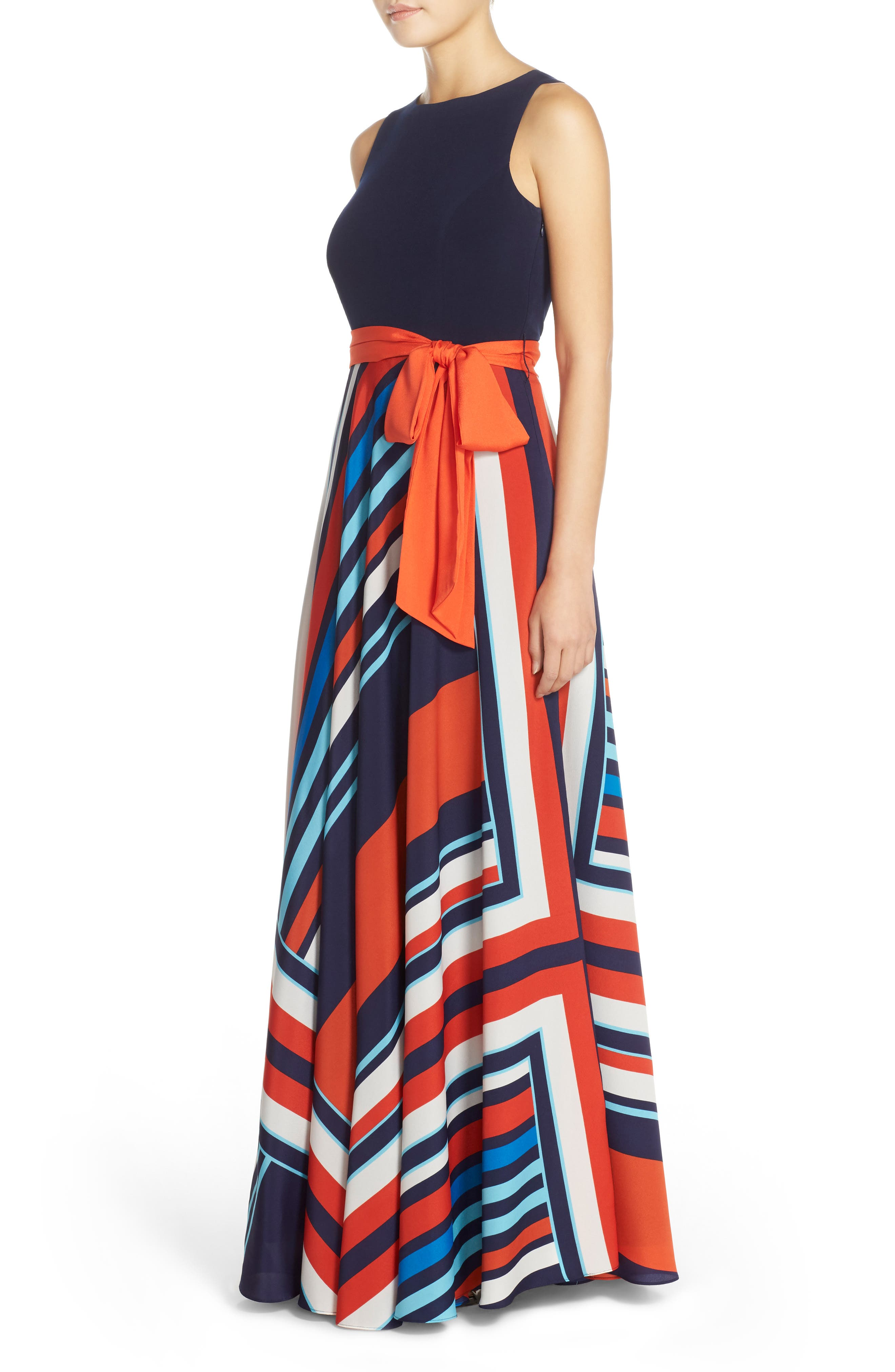 Jersey & Stripe Maxi Dress,                             Alternate thumbnail 3, color,                             400