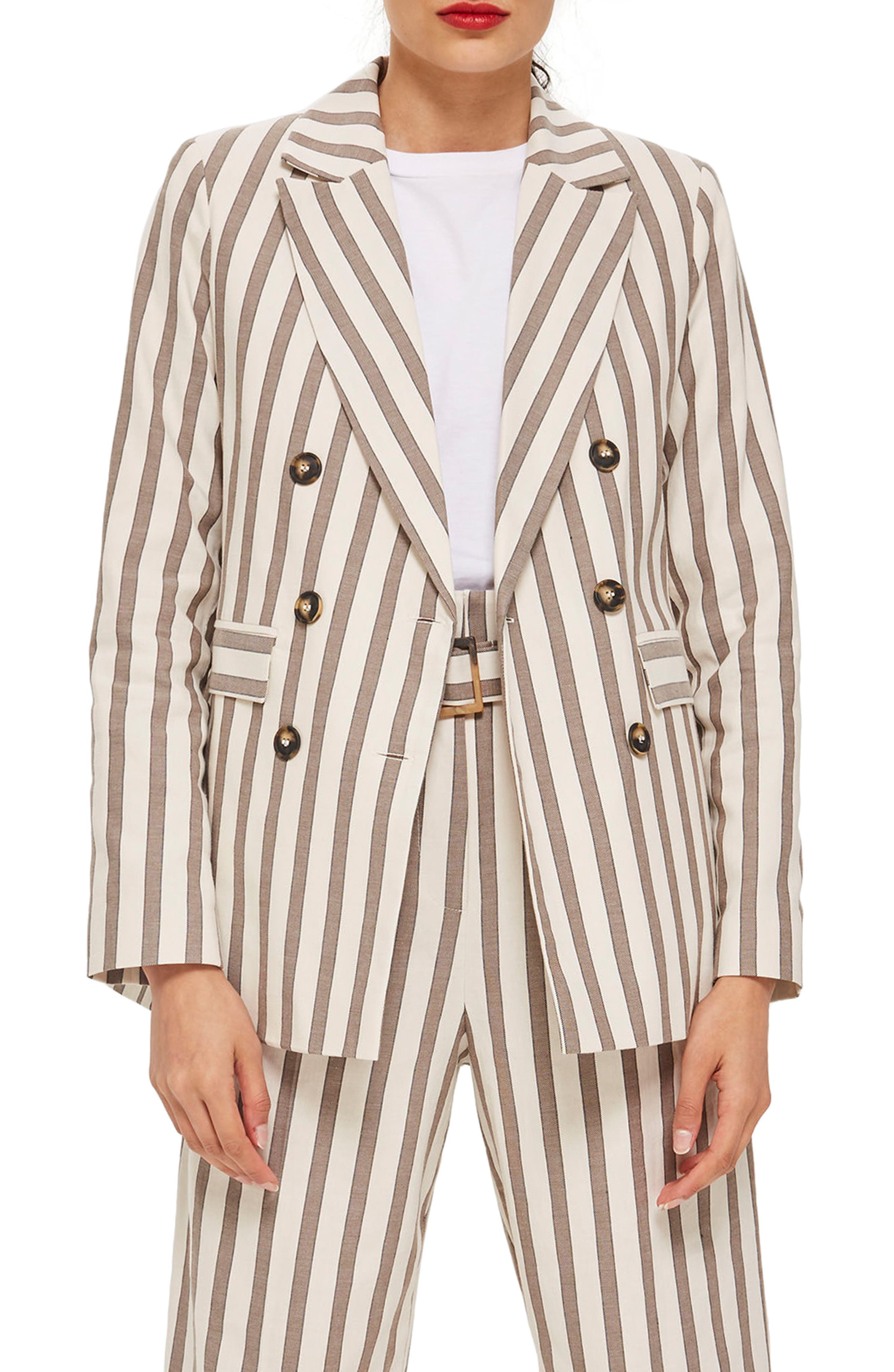 Taupe Stripe Double Breasted Blazer,                             Main thumbnail 1, color,                             900