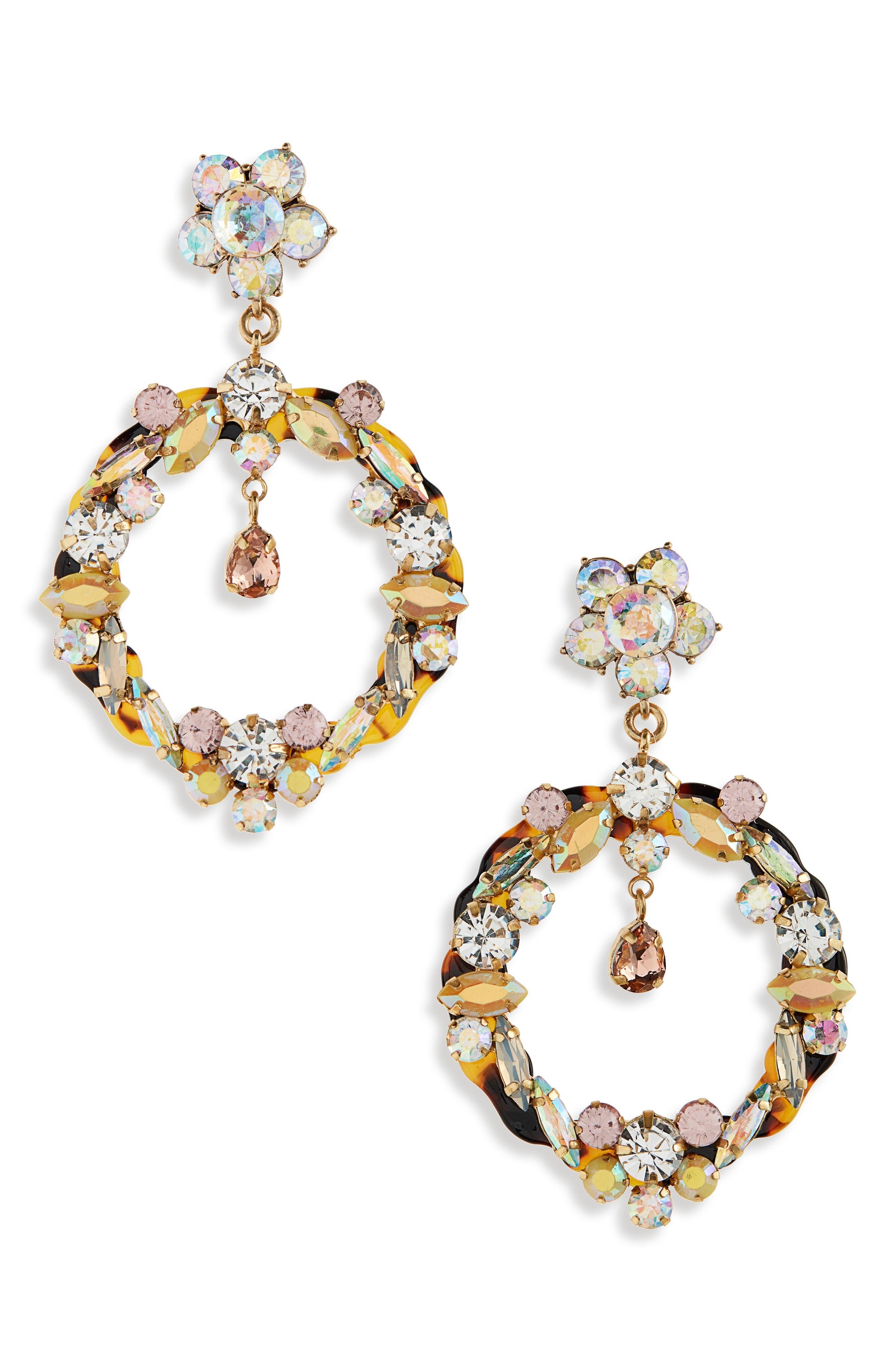 J.CREW,                             Garland Drop Hoop Earrings,                             Main thumbnail 1, color,                             040