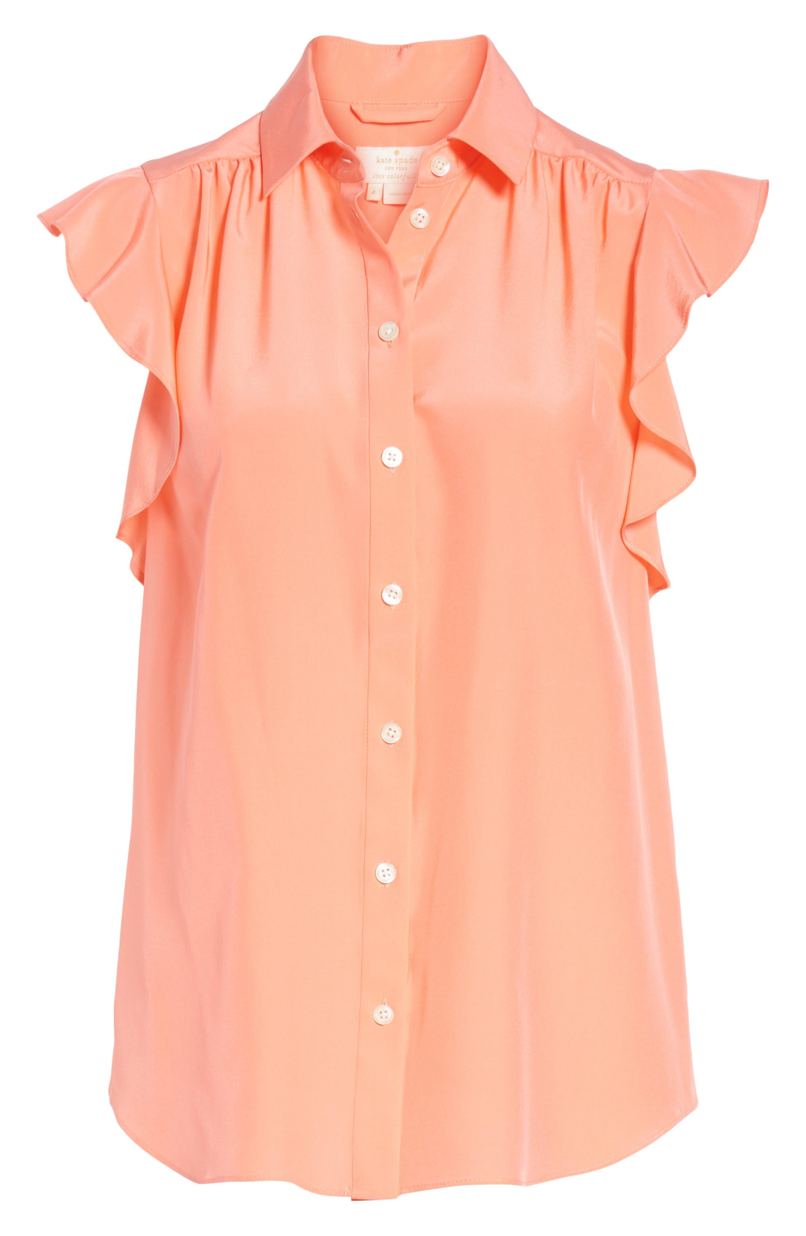 ruffle sleeve silk top,                             Alternate thumbnail 6, color,                             APRICOT SORBET
