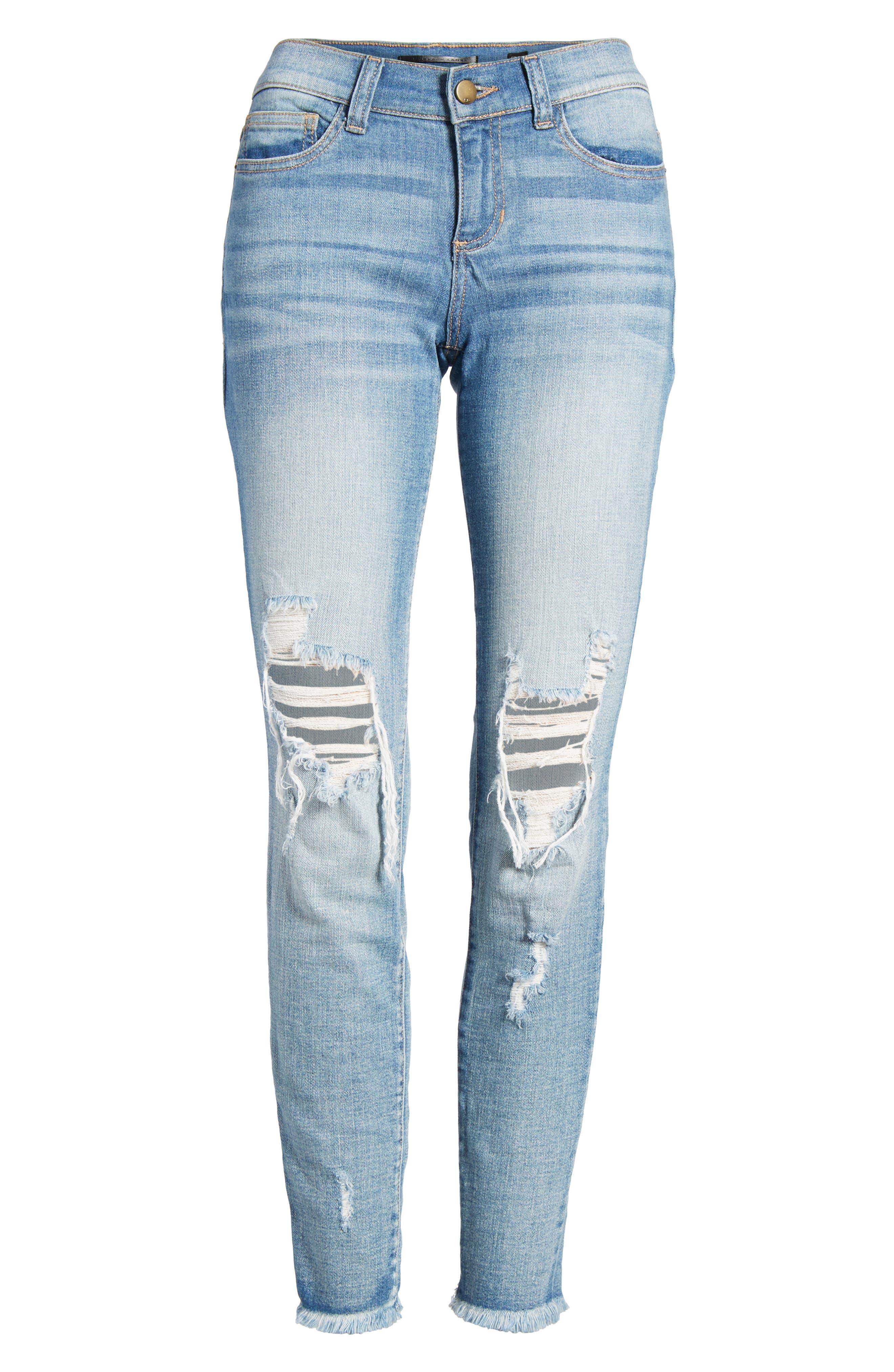 Ripped Knee Skinny Jeans,                             Alternate thumbnail 7, color,                             MEDIUM LIGHT