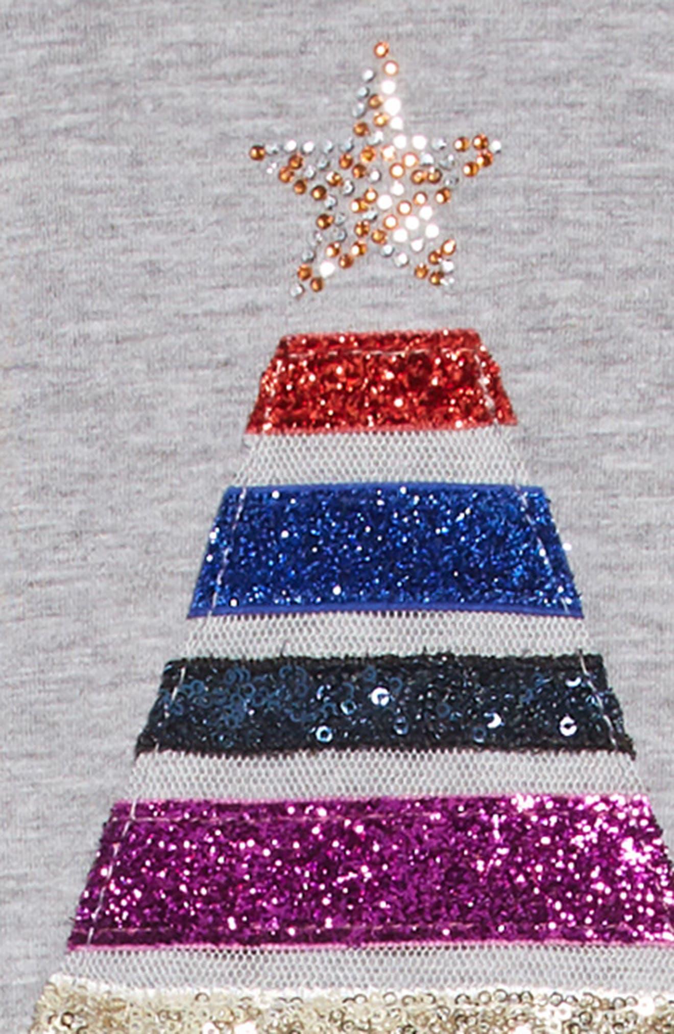 Glitter Tree Appliqué Dress,                             Alternate thumbnail 3, color,                             GREY