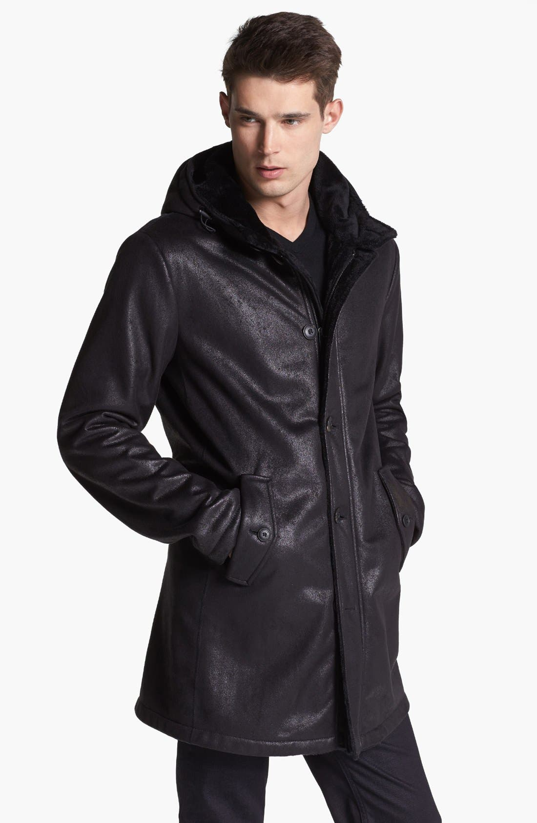 Armani Collezioni Faux Leather Duffle Coat, Main, color, 001