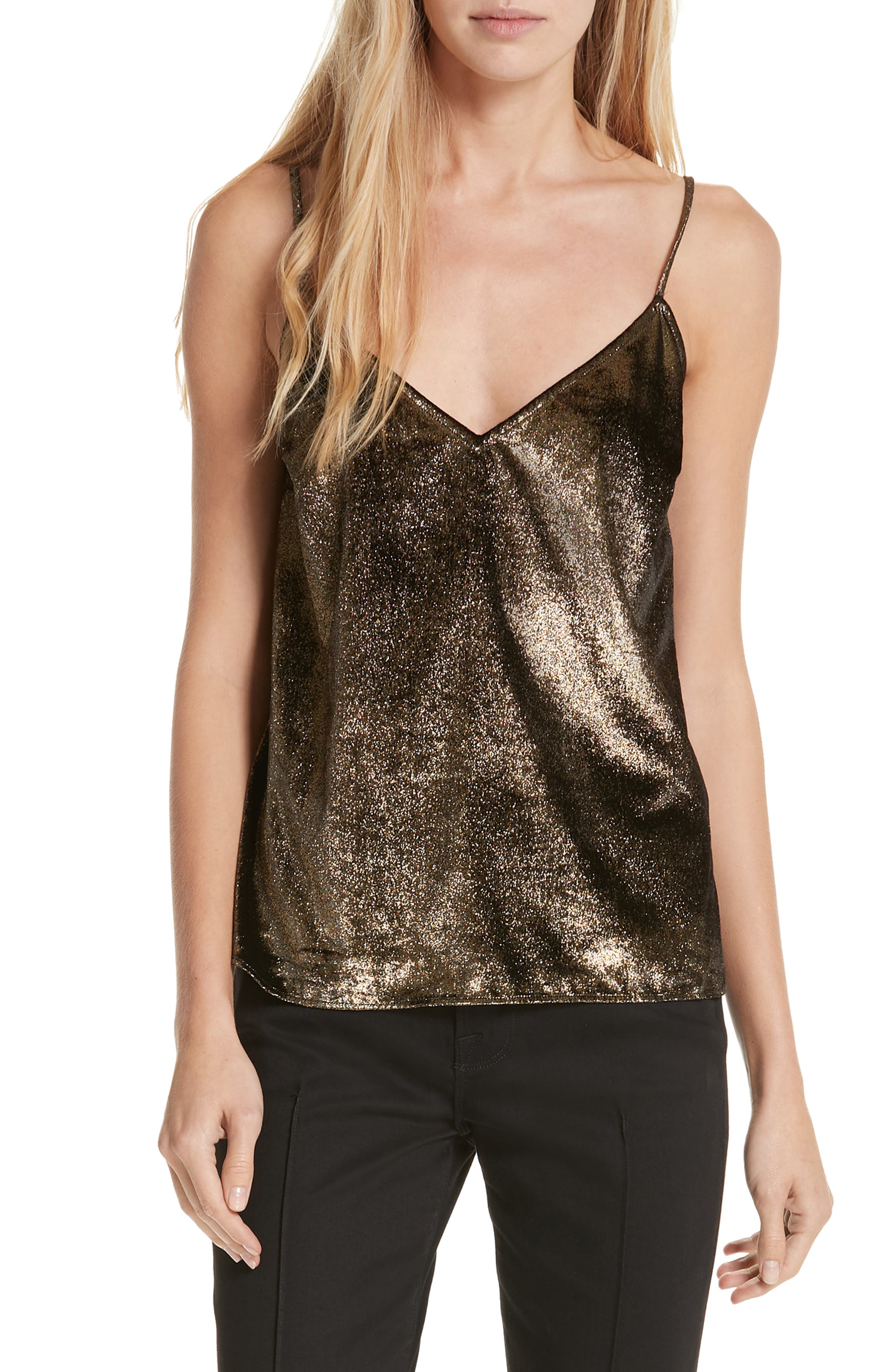 Metallic Velvet Camisole in Gold