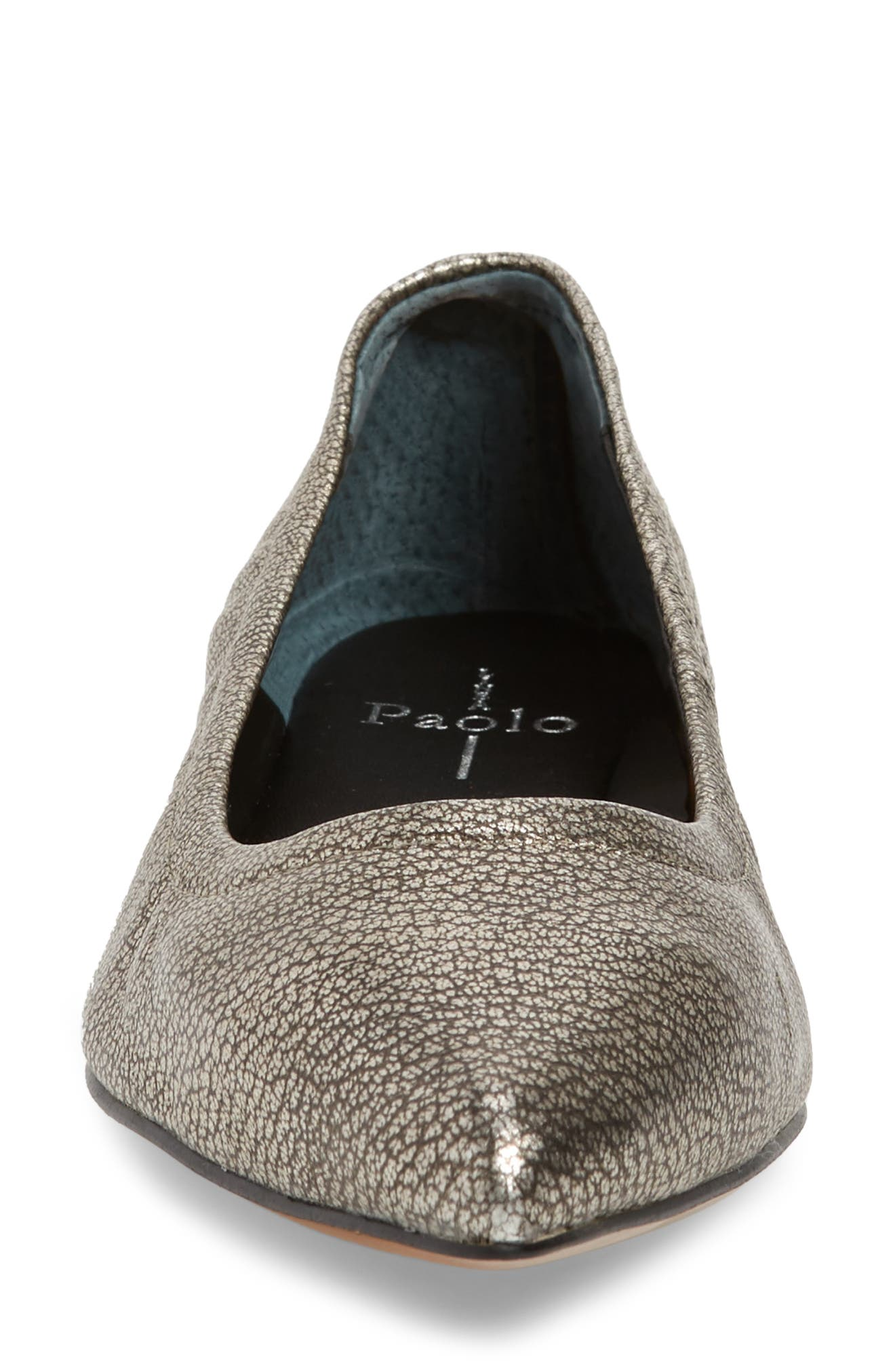 Nico Pointy Toe Flat,                             Alternate thumbnail 4, color,                             ANTHRACITE LEATHER