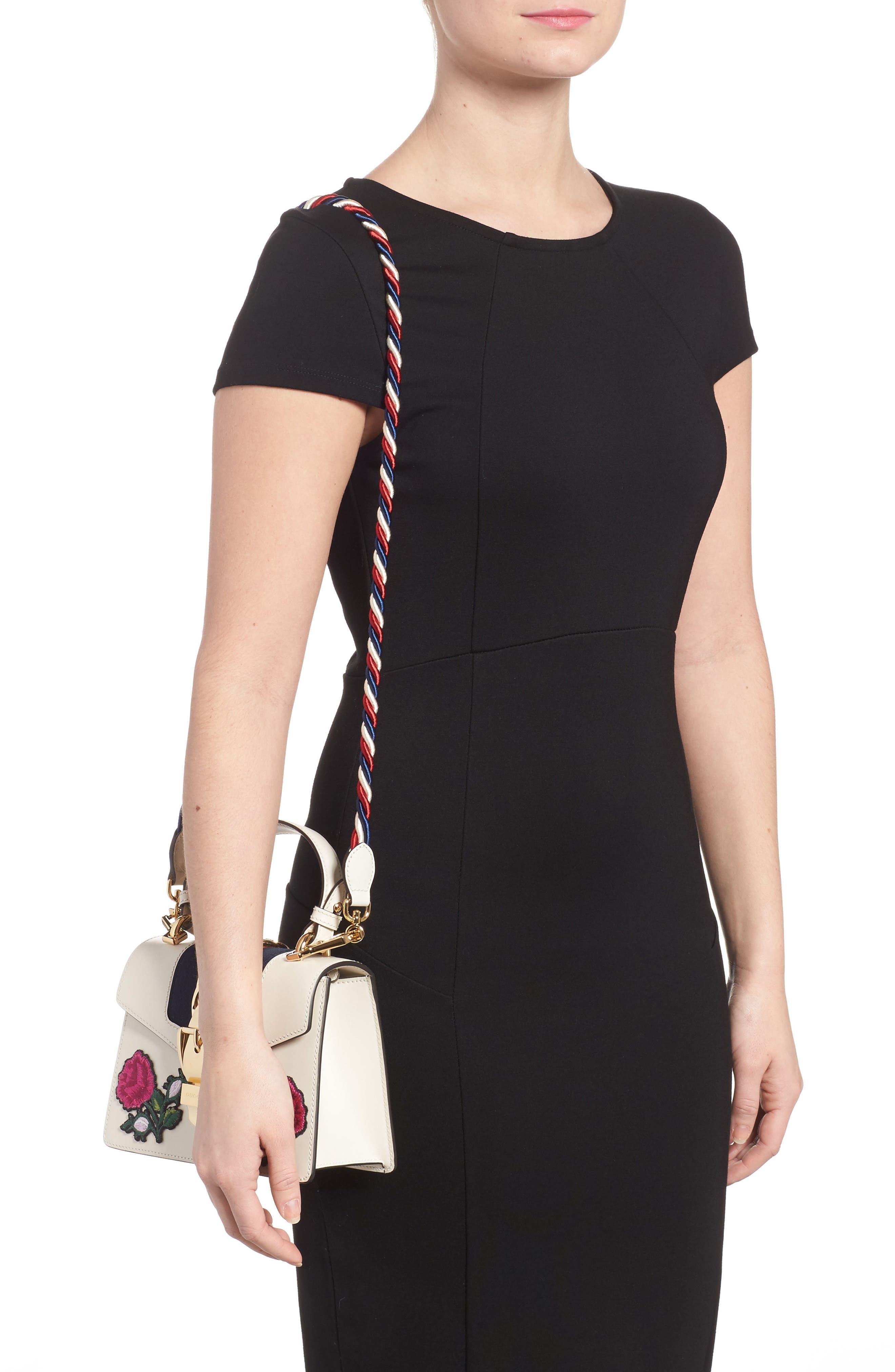 Mini Sylvie Embroidered Floral Leather Shoulder Bag,                             Alternate thumbnail 2, color,                             WHITE MULTI