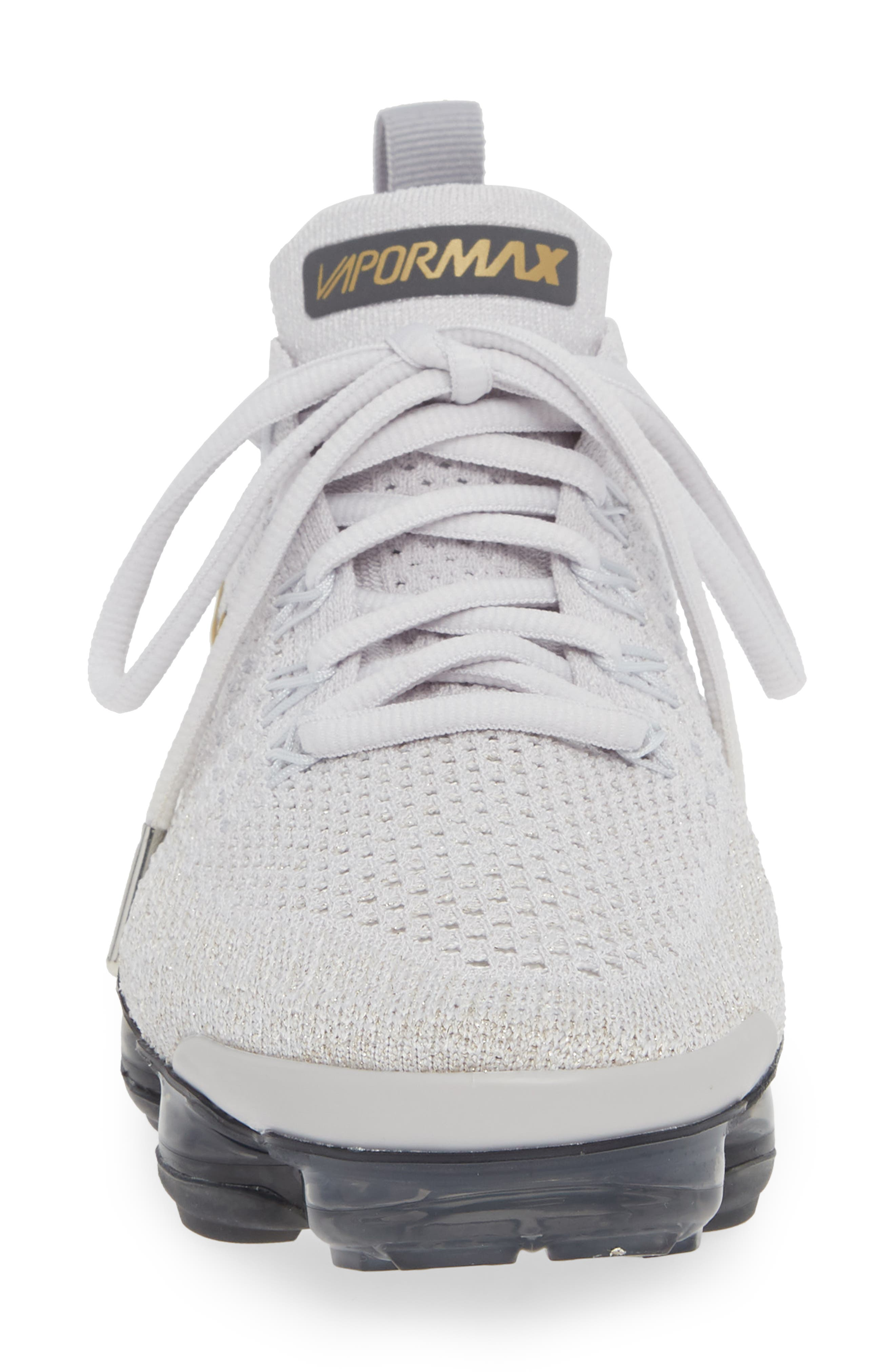 Air VaporMax Flyknit 2 Running Shoe,                             Alternate thumbnail 4, color,                             GREY/ METALLIC GOLD- PLATINUM