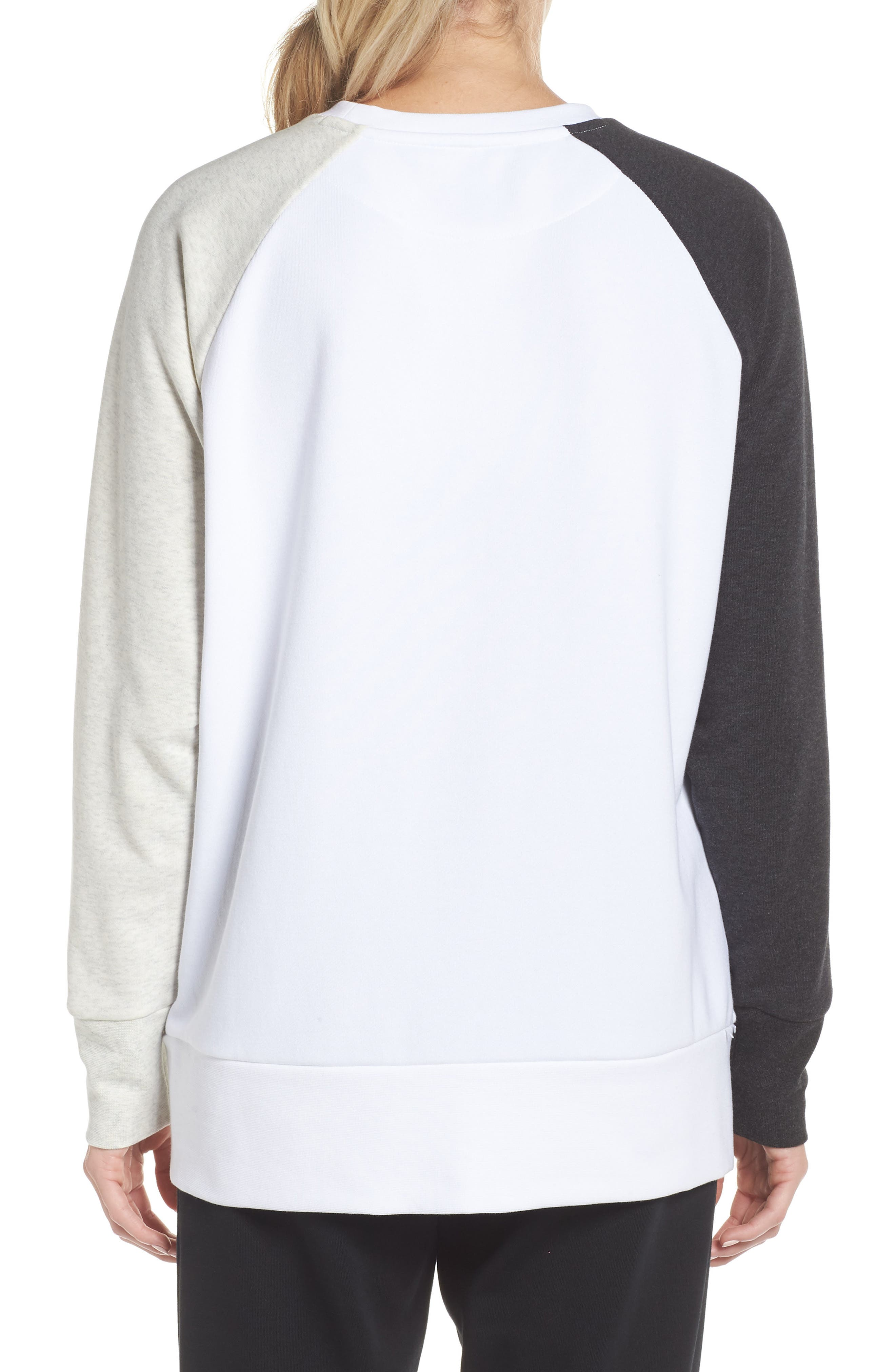 Dry Swoosh Sweatshirt,                             Alternate thumbnail 2, color,                             WHITE/ BLACK HEATHER/ WHITE